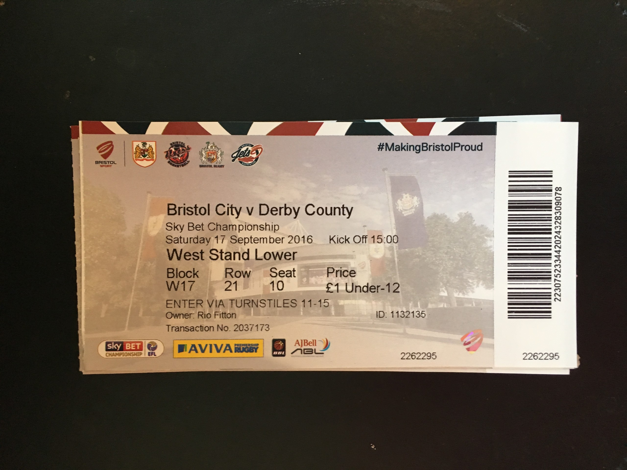 Bristol City v Derby County 17-09-2016 Ticket