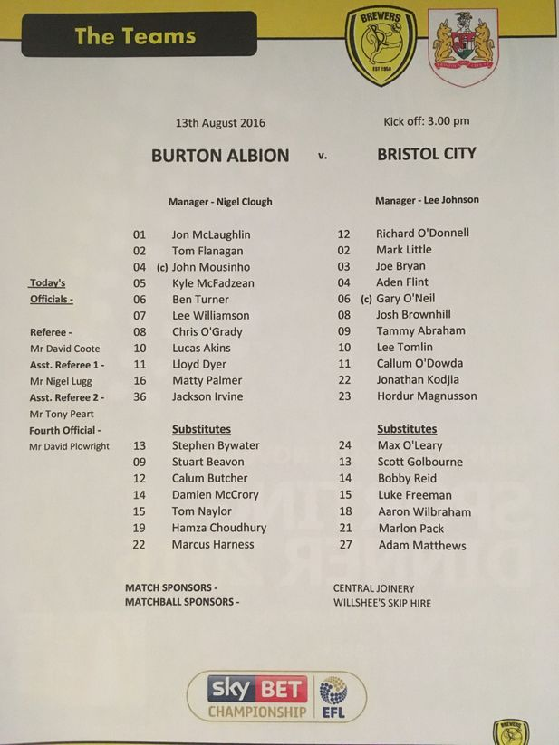 Burton Albion v Bristol City 13-08-2016 Team Sheet