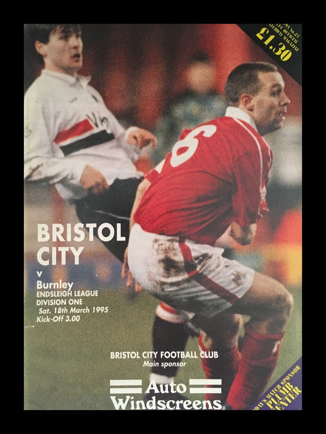 Bristol City v Burnley 18-03-1995 Programme