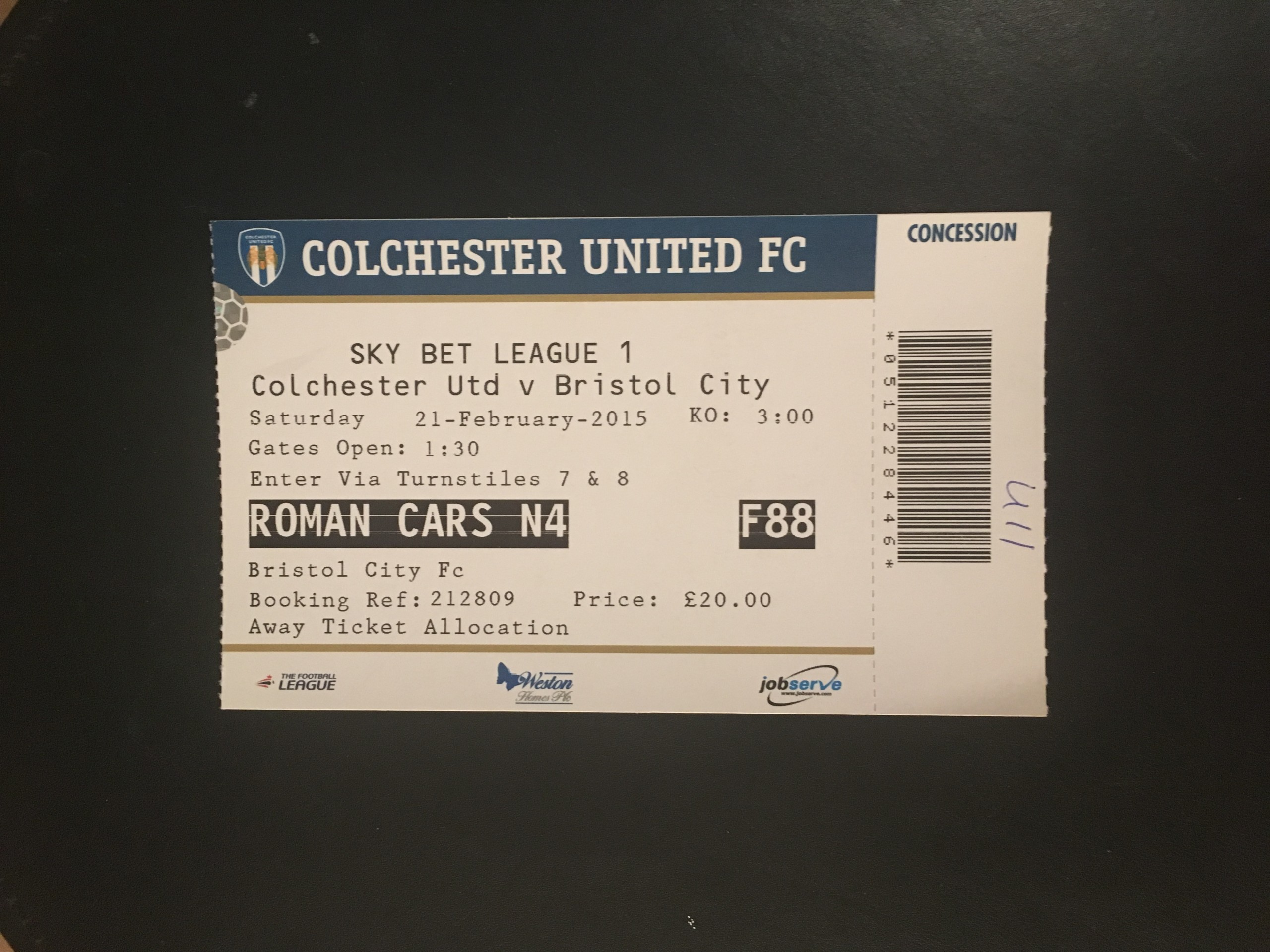 Colchester United v Bristol City 21-02-2015 Ticket