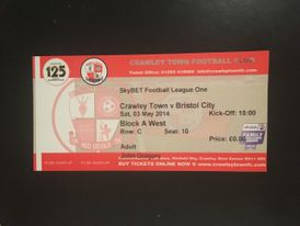 Crawley Town v Bristol City 03-05-2014 Ticket