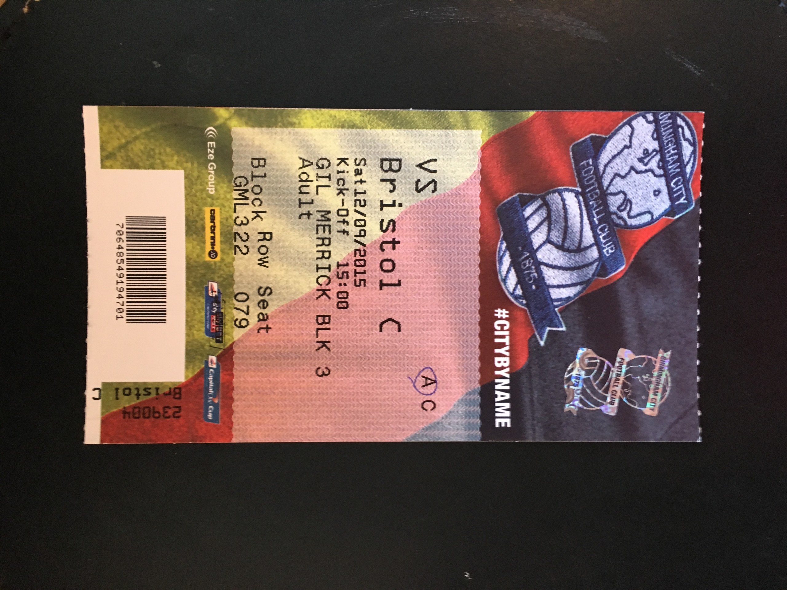 Birmingham City v Bristol City 12-09-2015 Ticket