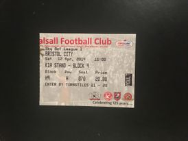Walsall v Bristol City 12-04-2014 Ticket
