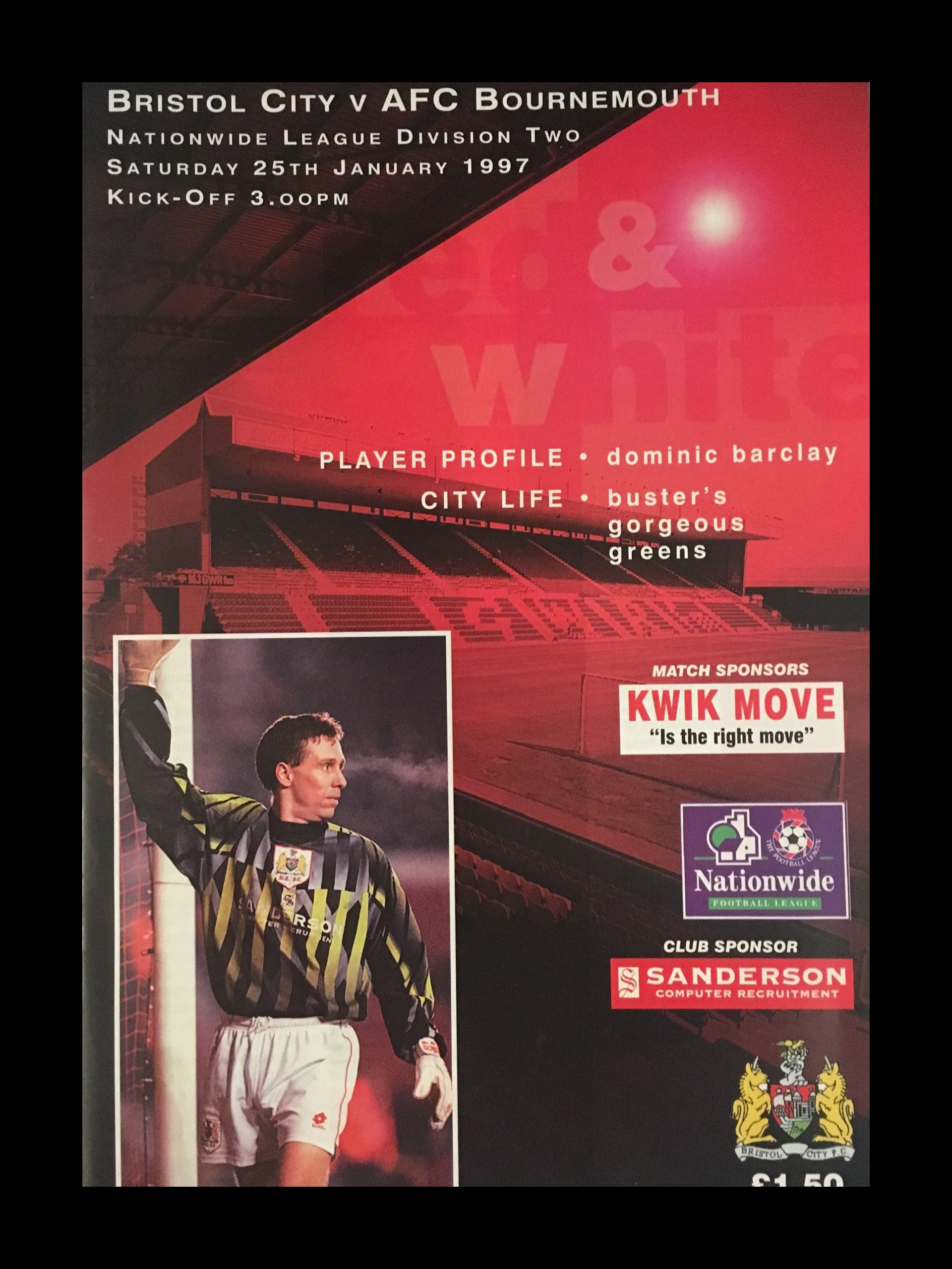 Bristol City v AFC Bournemouth 25-01-1997 Programme