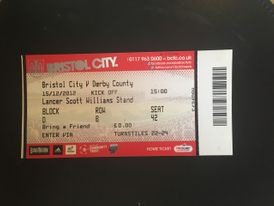 Bristol City v Derby County 15-12-12 Ticket