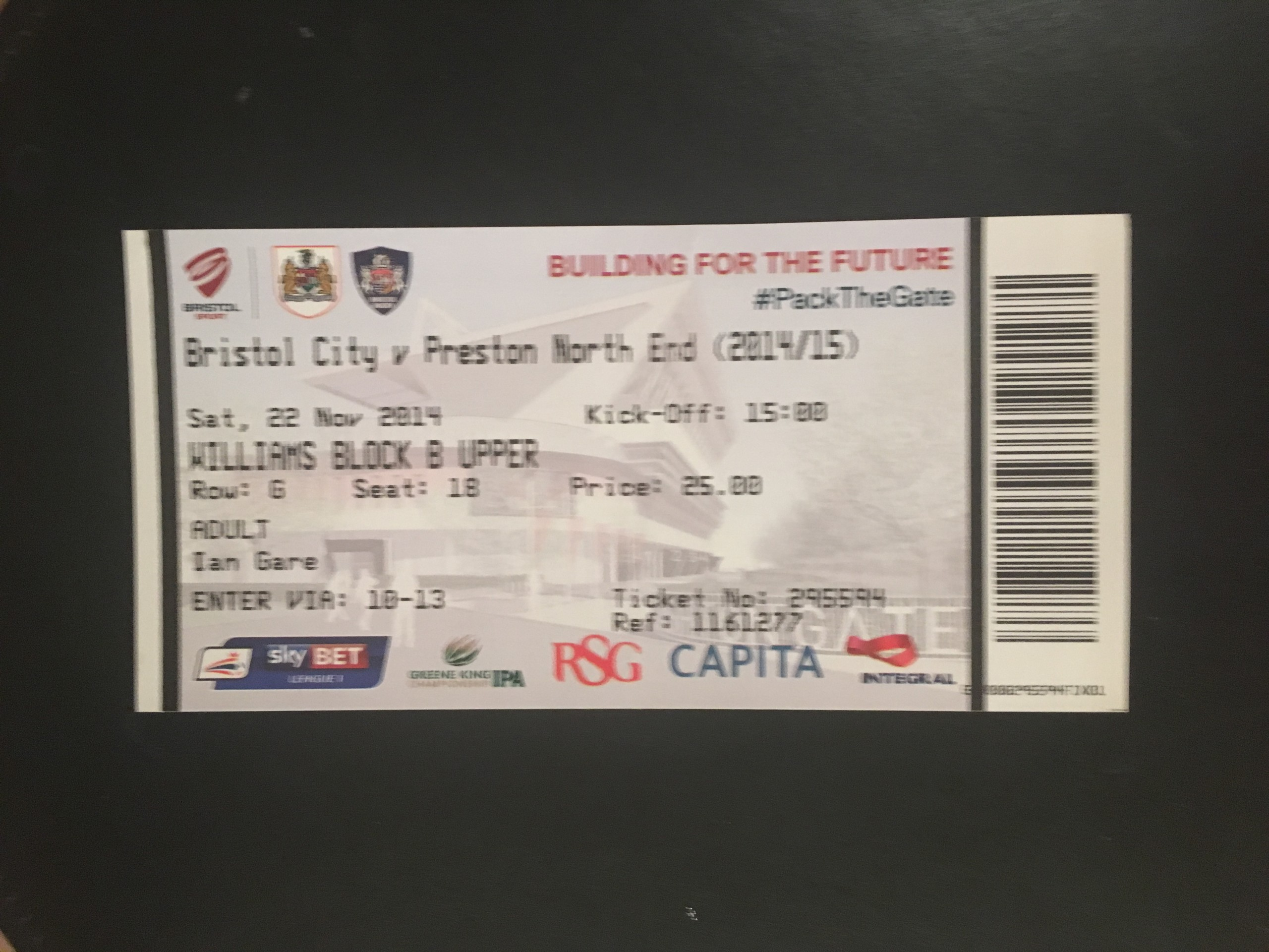 Bristol City v Preston North End 22-11-2014 Ticket