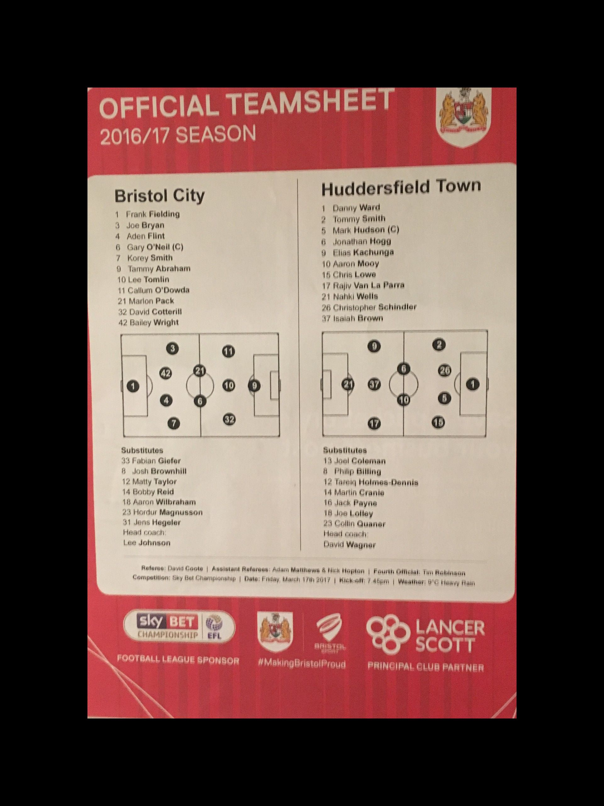Bristol City v Huddersfield Town 17-03-17 Team Sheet