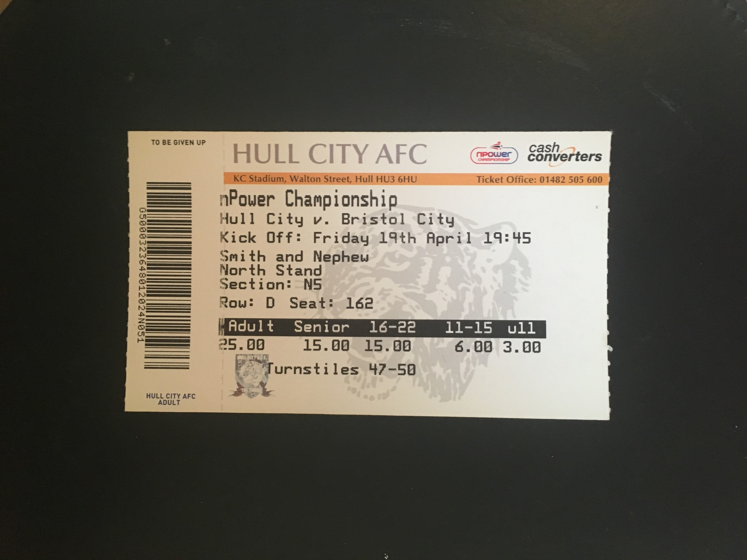 Hull City v Bristol City 19-04-13 Ticket