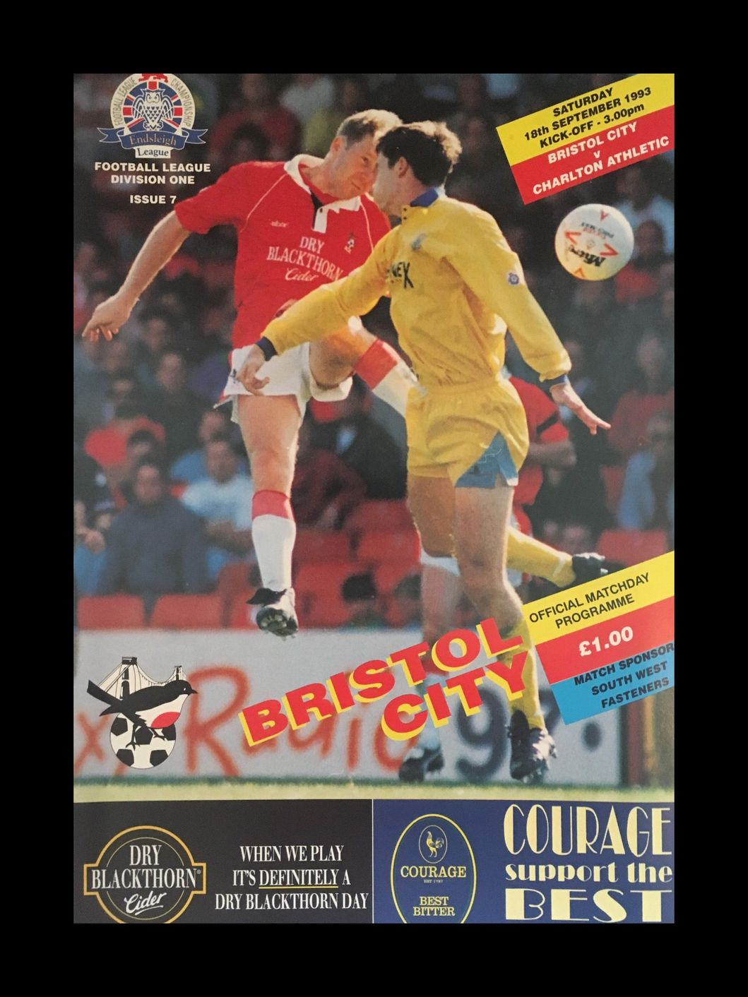 Bristol City v Charlton Athletic 18-09-1993 Programme