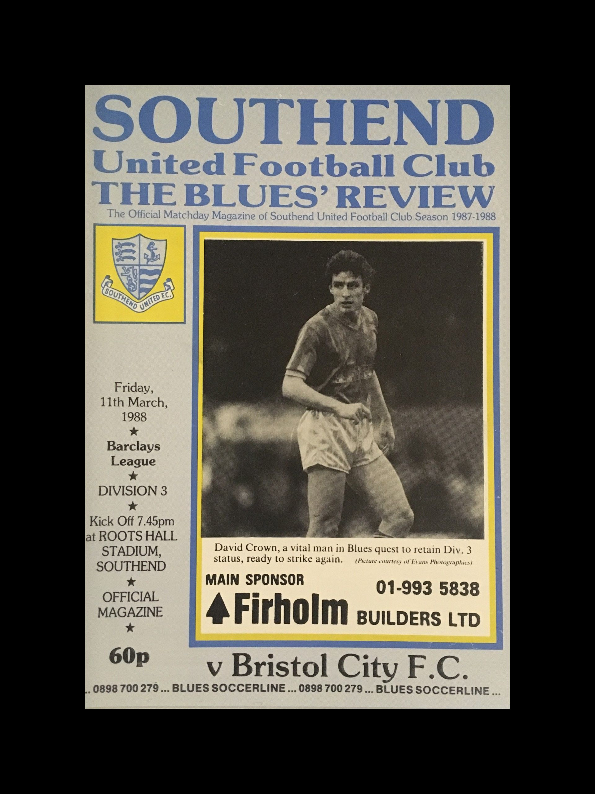Southend United v Bristol City 11-03-1988 Programme
