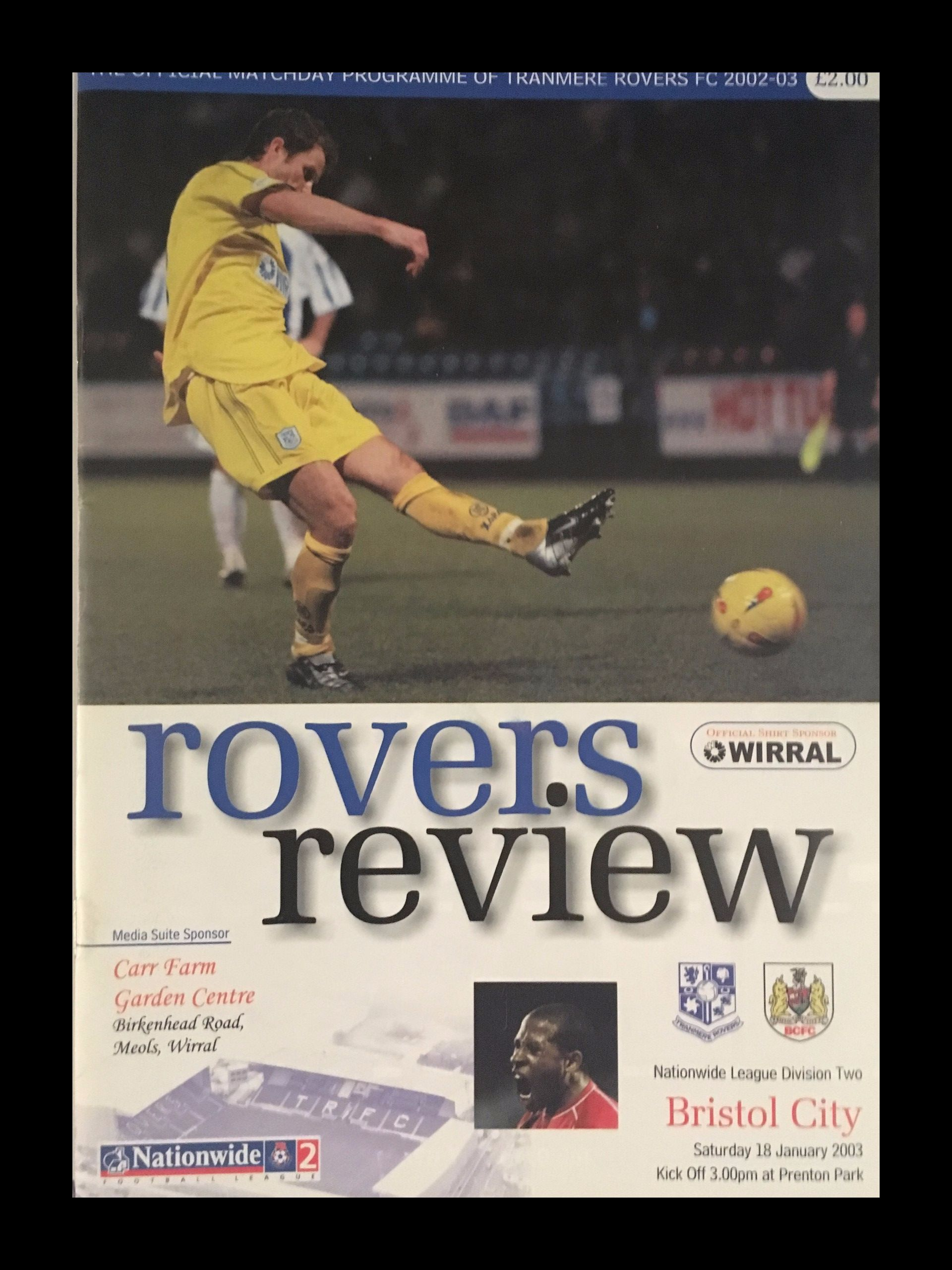 Tranmere Rovers v Bristol City 18-01-2003 Programme