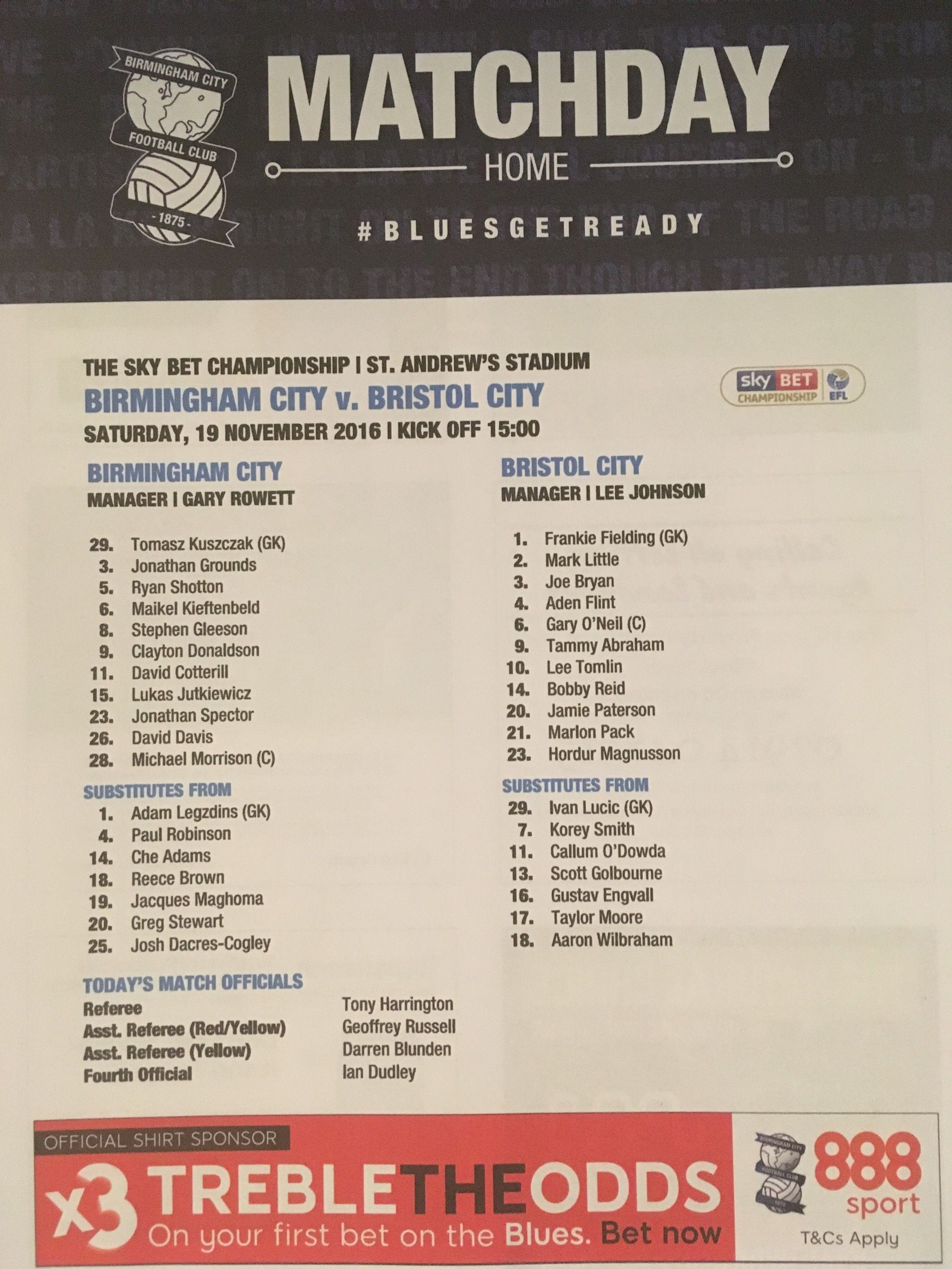 Birmingham City v Bristol City 19-11-2016 Team Sheet