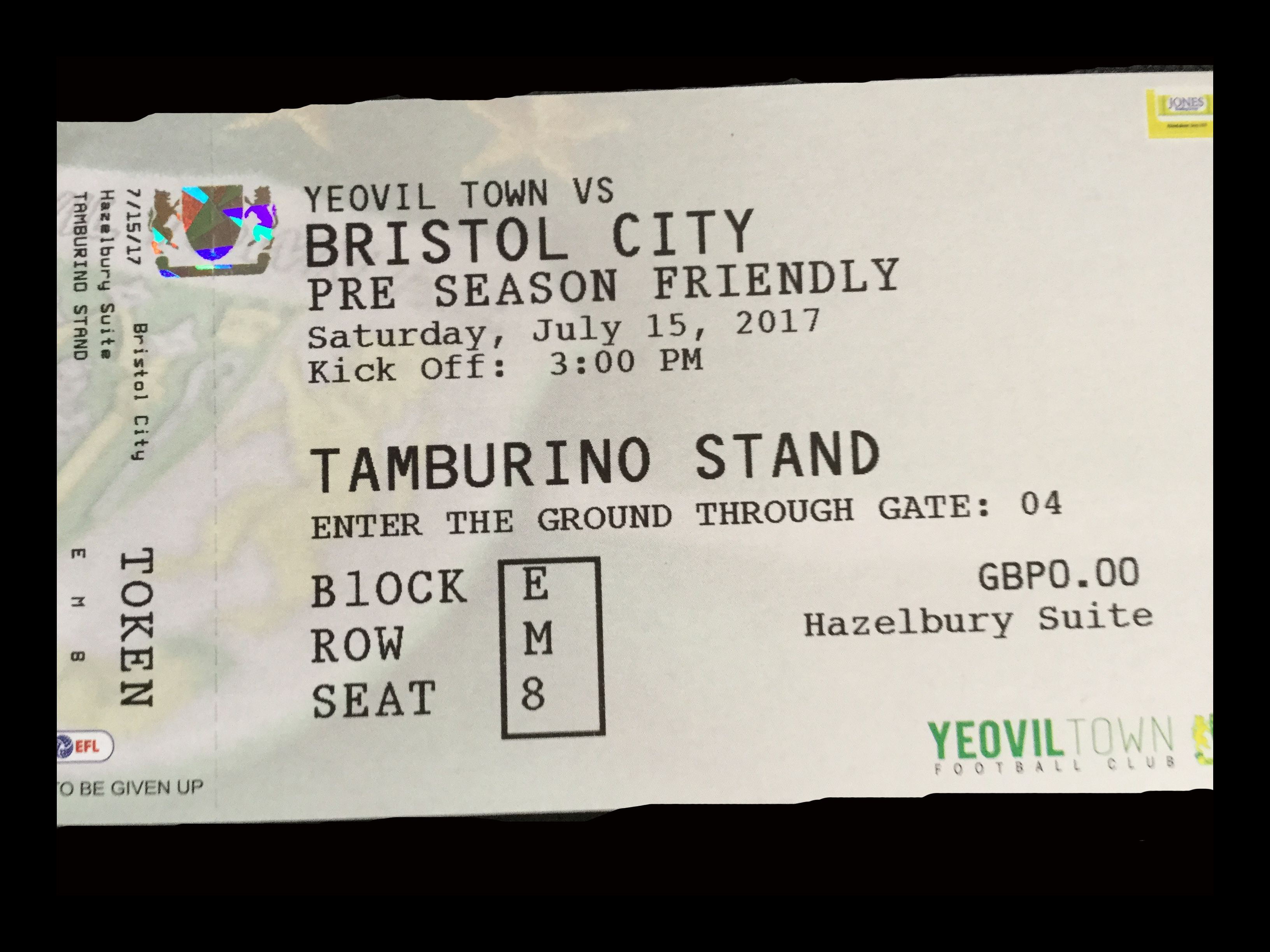 Yeovil Town v Bristol City 15-07-17 Ticket