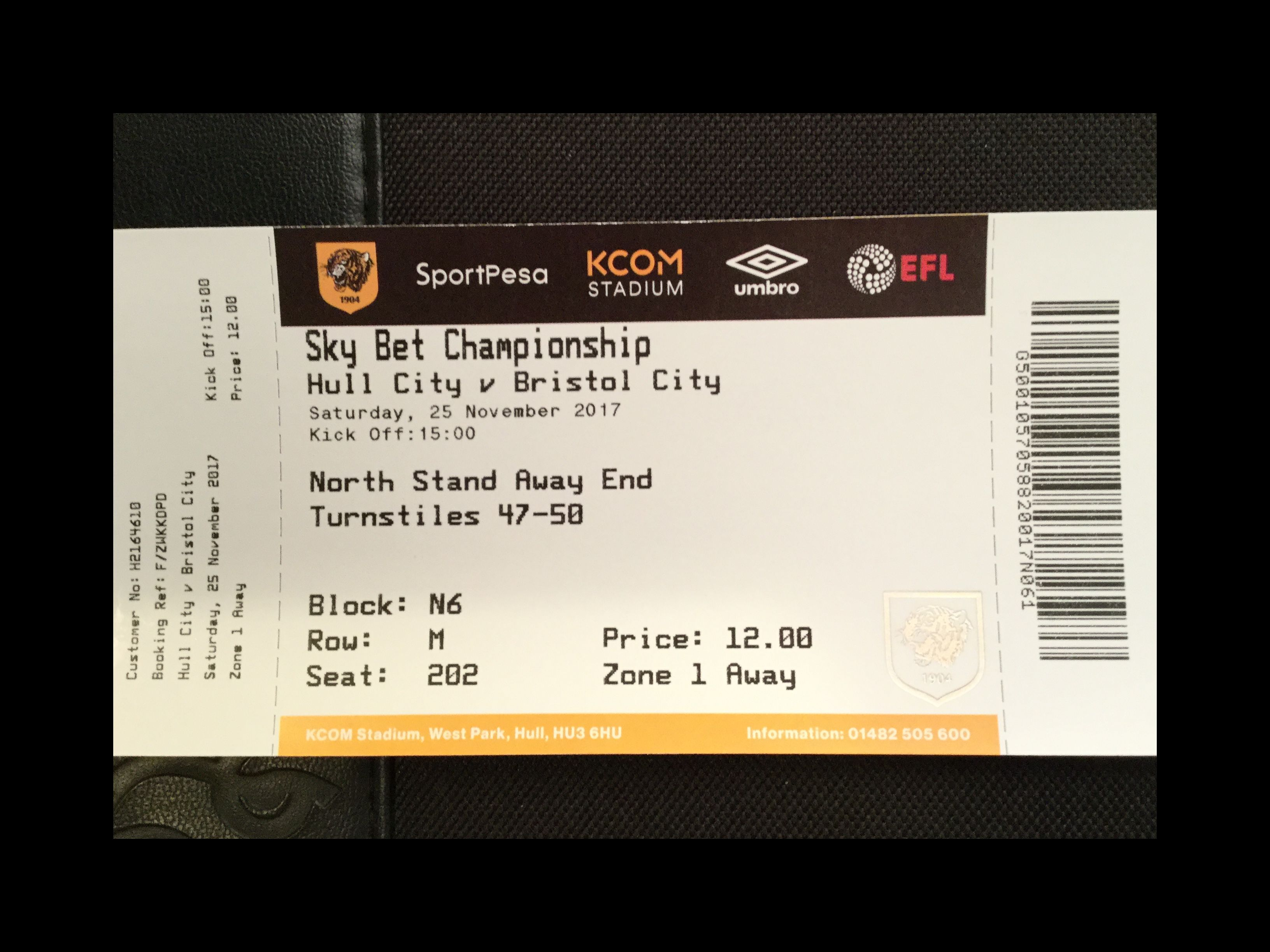 Hull City v Bristol City 25-11-17 Ticket
