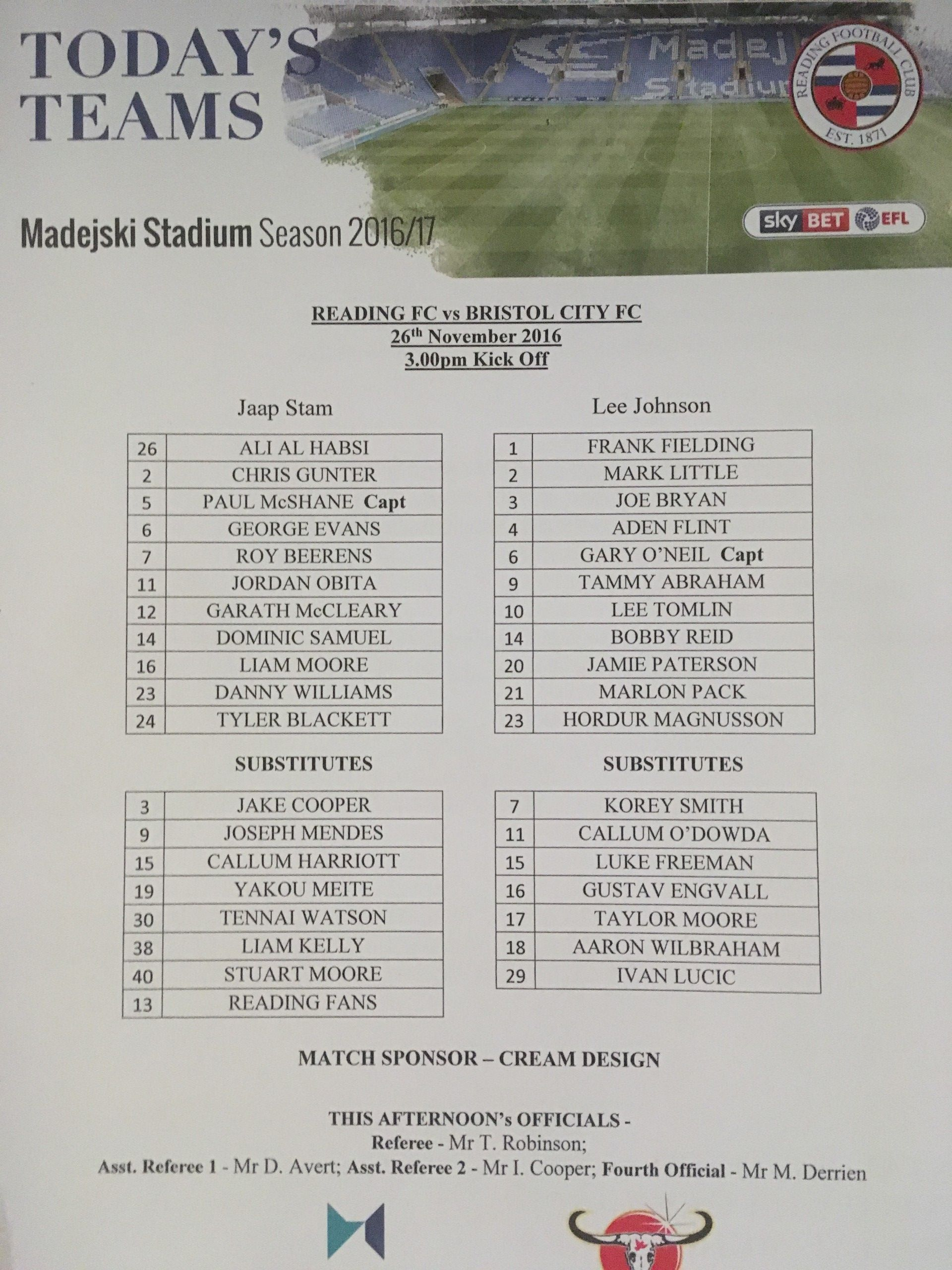 Reading v Bristol City 26-11-2016 Team Sheet