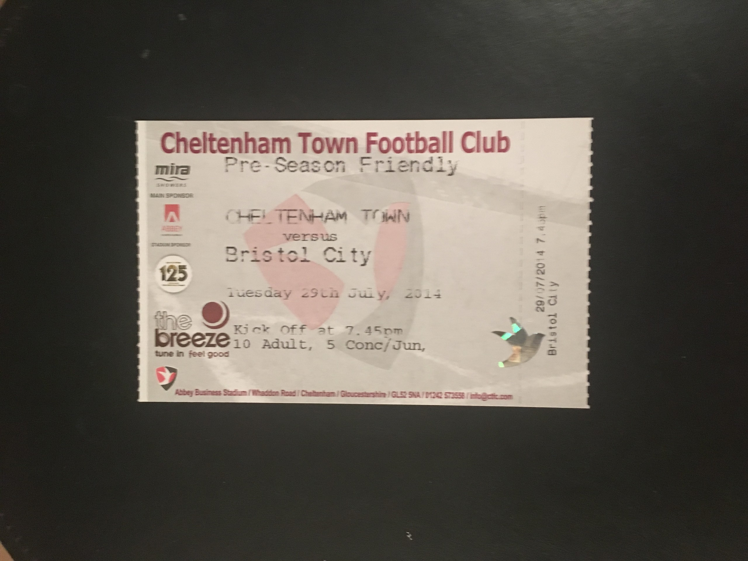 Cheltenham Town v Bristol City 29-07-2014 Ticket
