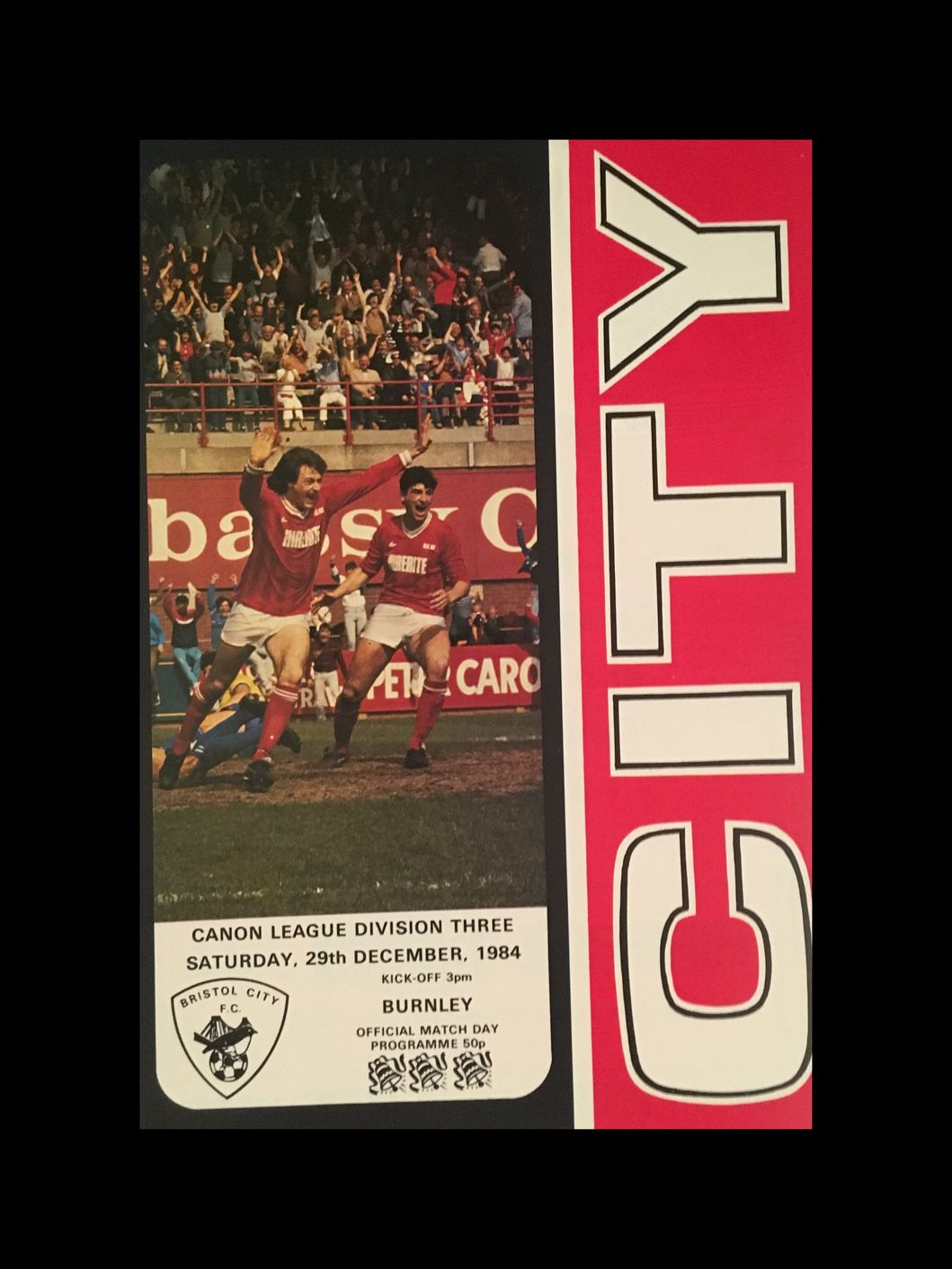 Bristol City v Burnley 29-12-84 Programme