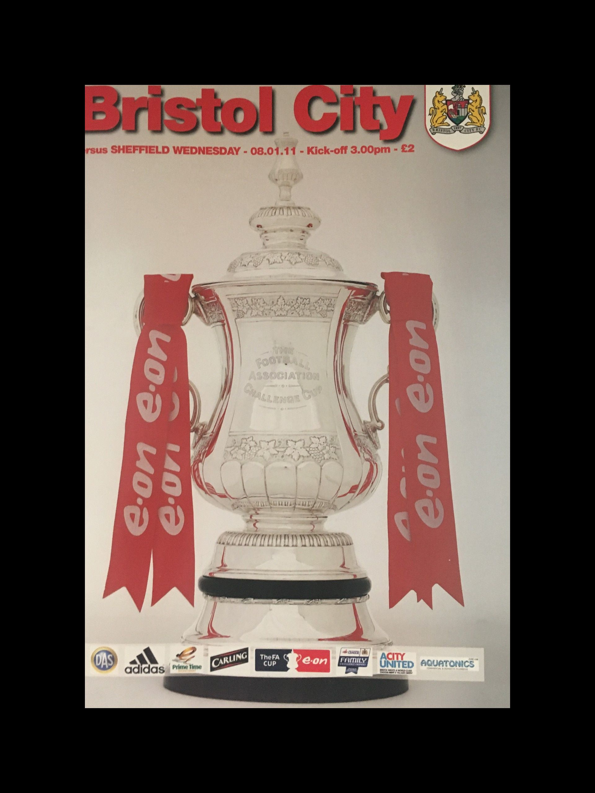 Bristol City v Sheffield Wednesday 08-01-2011 Programme