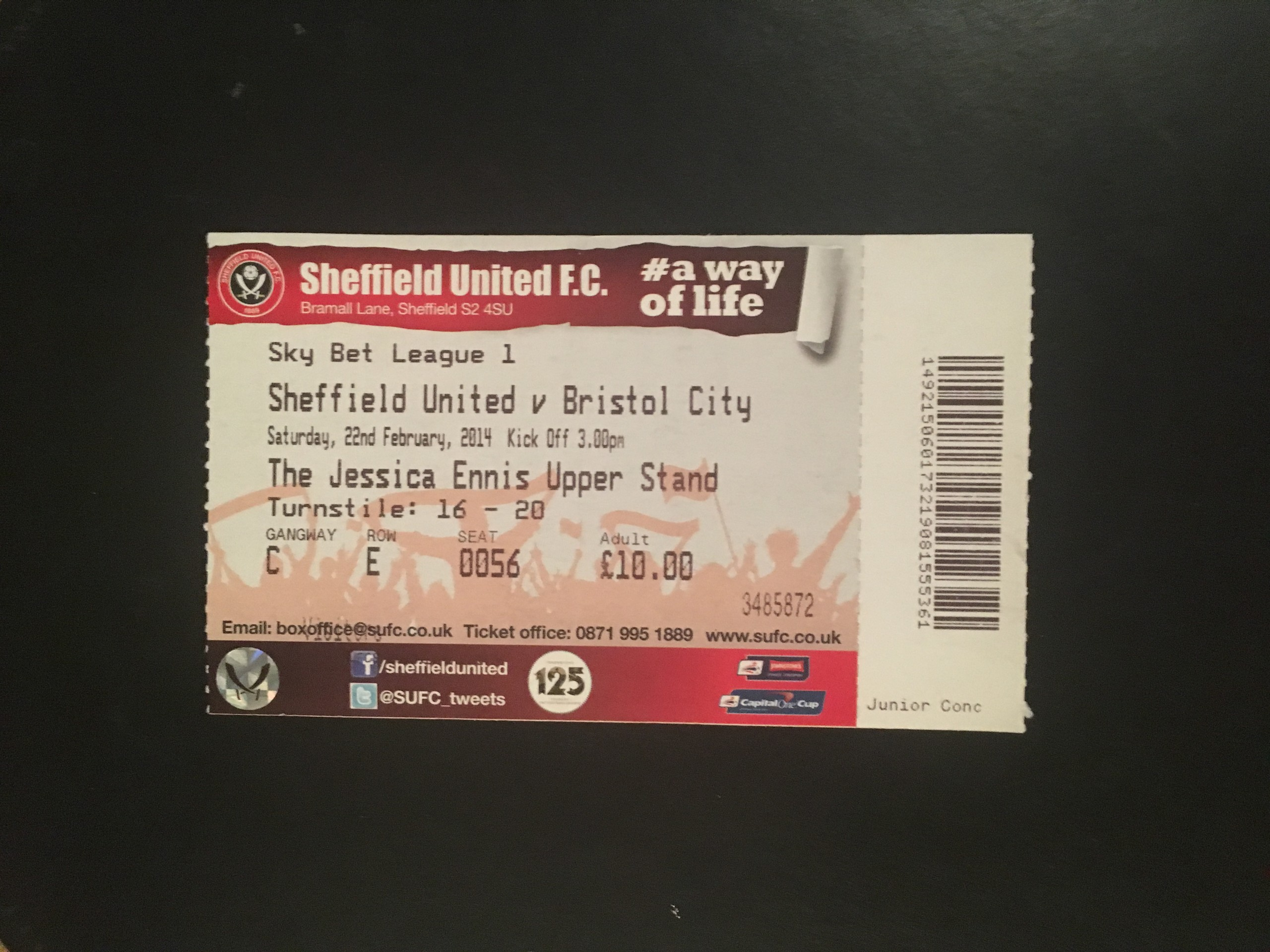Sheffield United v Bristol City 22-02-2014 Ticket