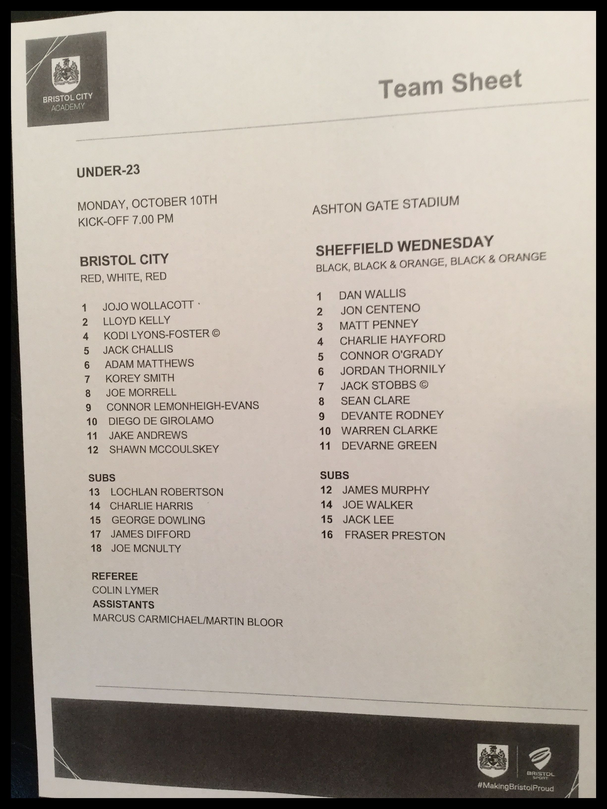 Bristol City v Sheffield Wednesday 10-10-16 Team Sheet