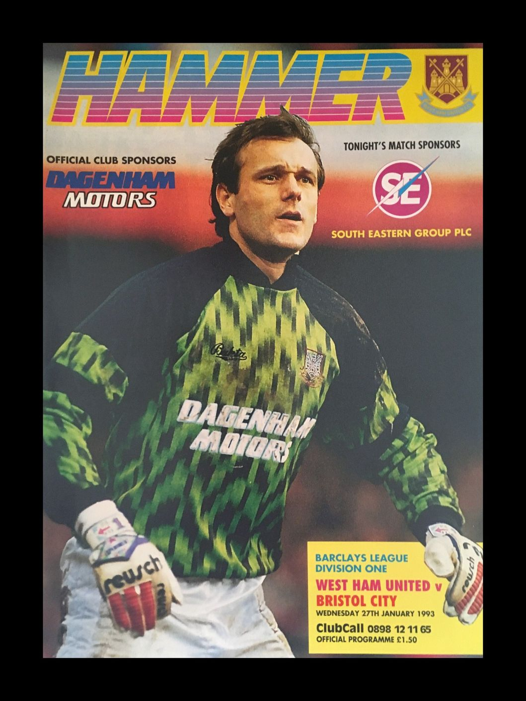 West Ham United v Bristol City 27-01-1993 Programme