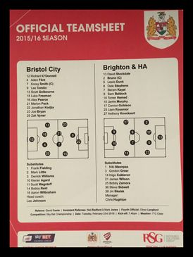 Bristol City v Brighton & Hove Albion 23-02-2016 Team Sheet