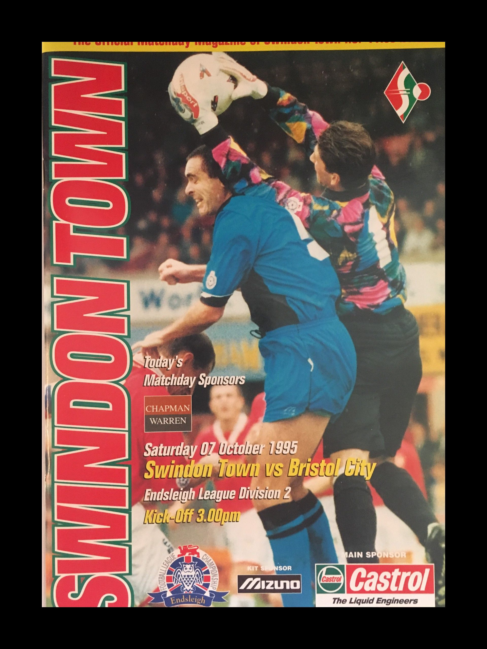Swindon Town v Bristol City 07-10-1995 Programme
