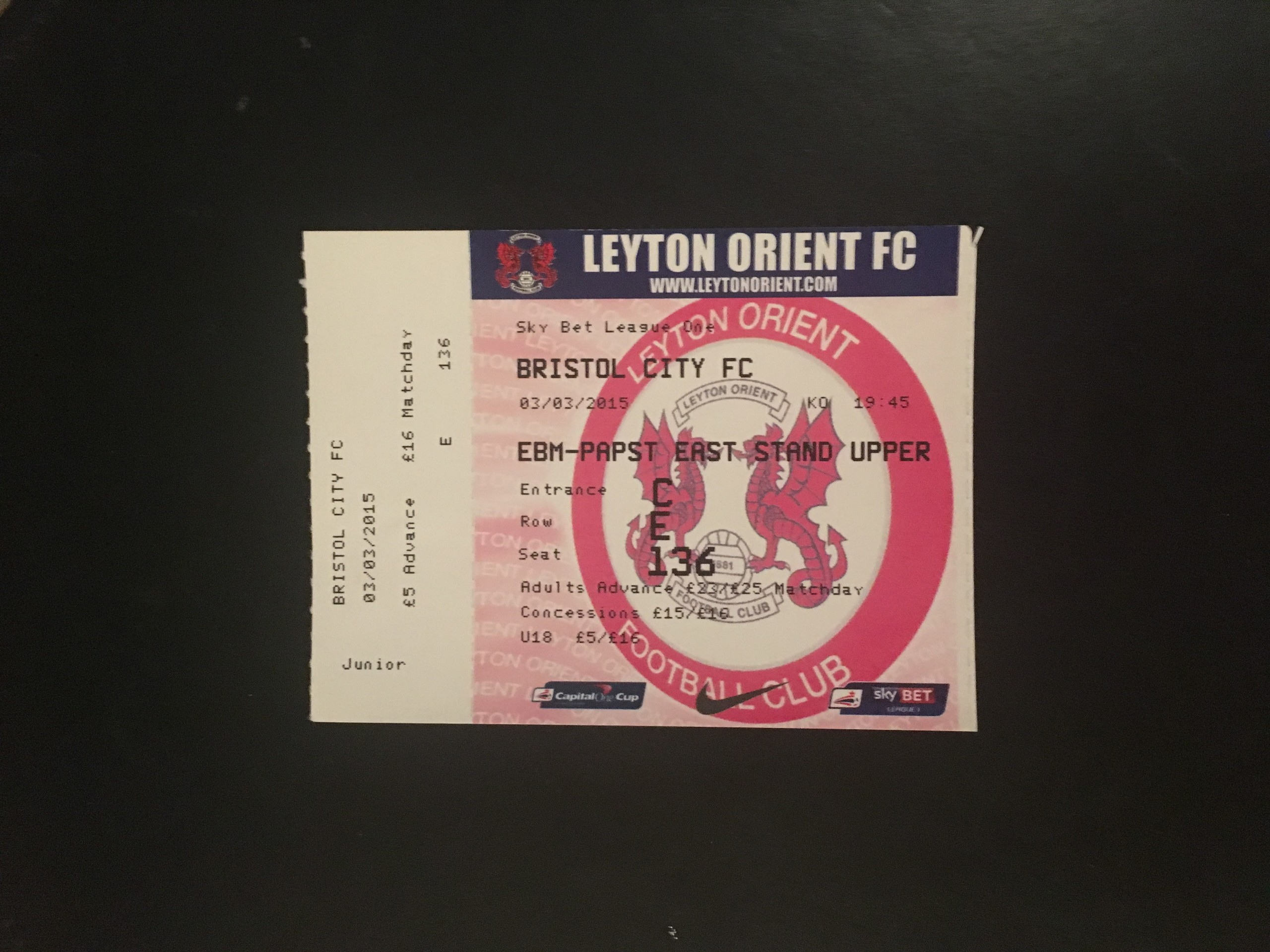 Leyton Orient v Bristol City 03-03-2015 Ticket