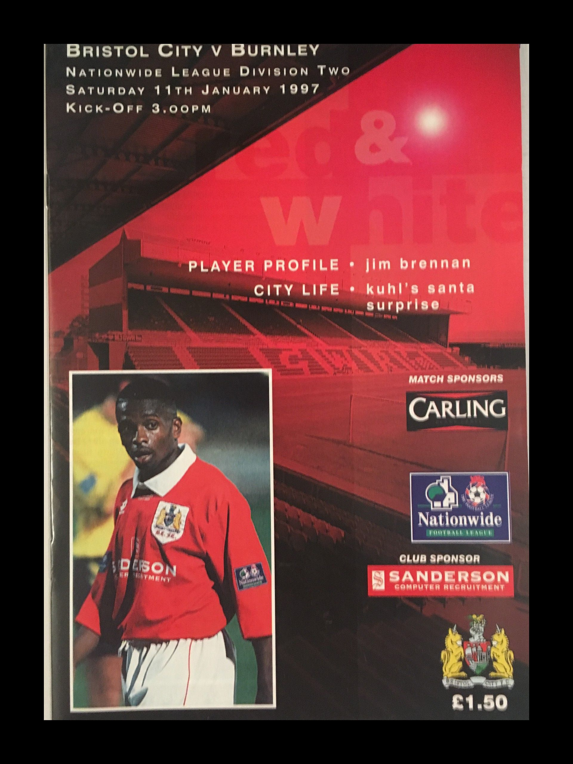 Bristol City v Burnley 11-01-1997 Programme