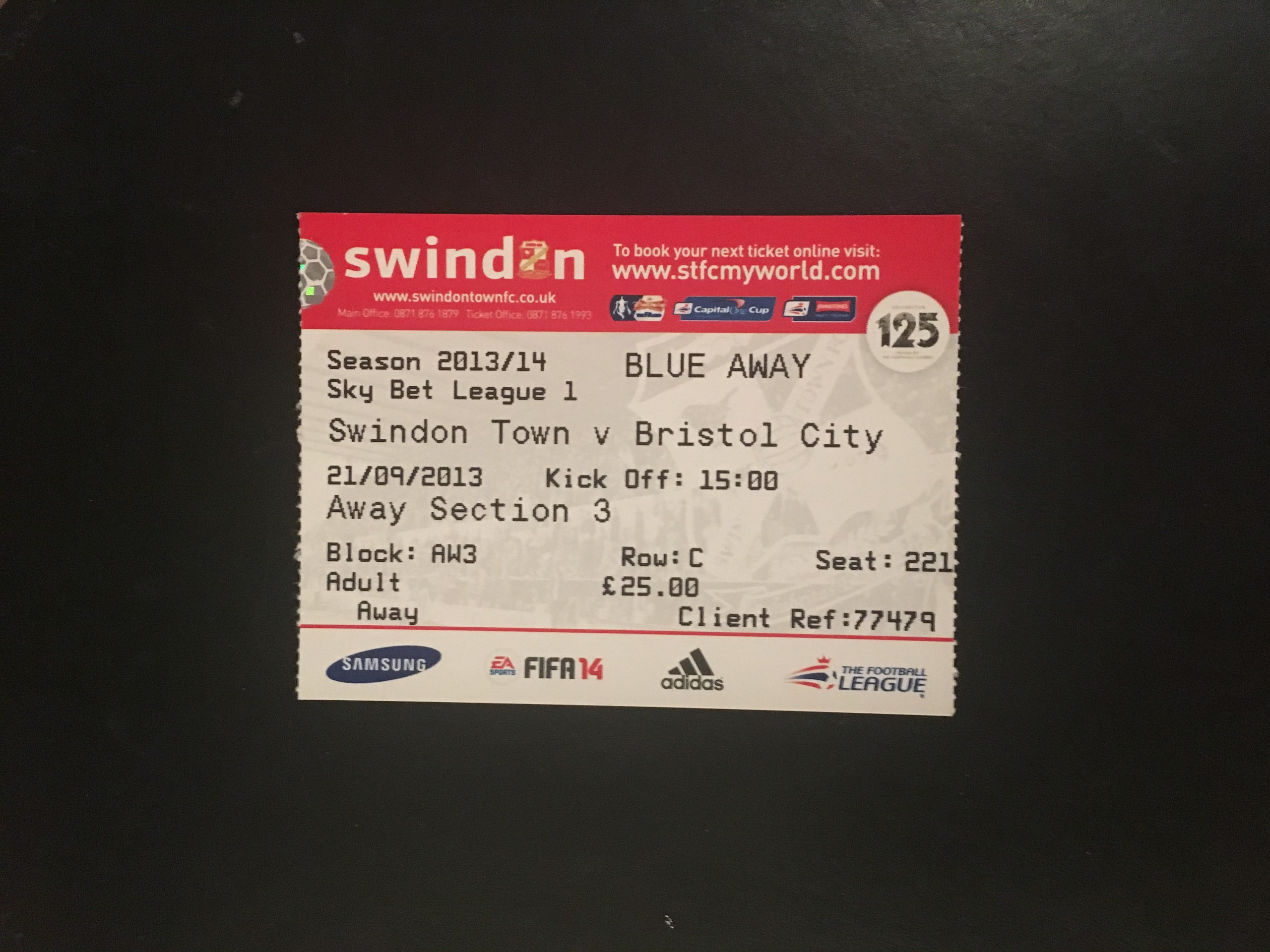 Swindon Town v Bristol City 21-09-2013 Ticket