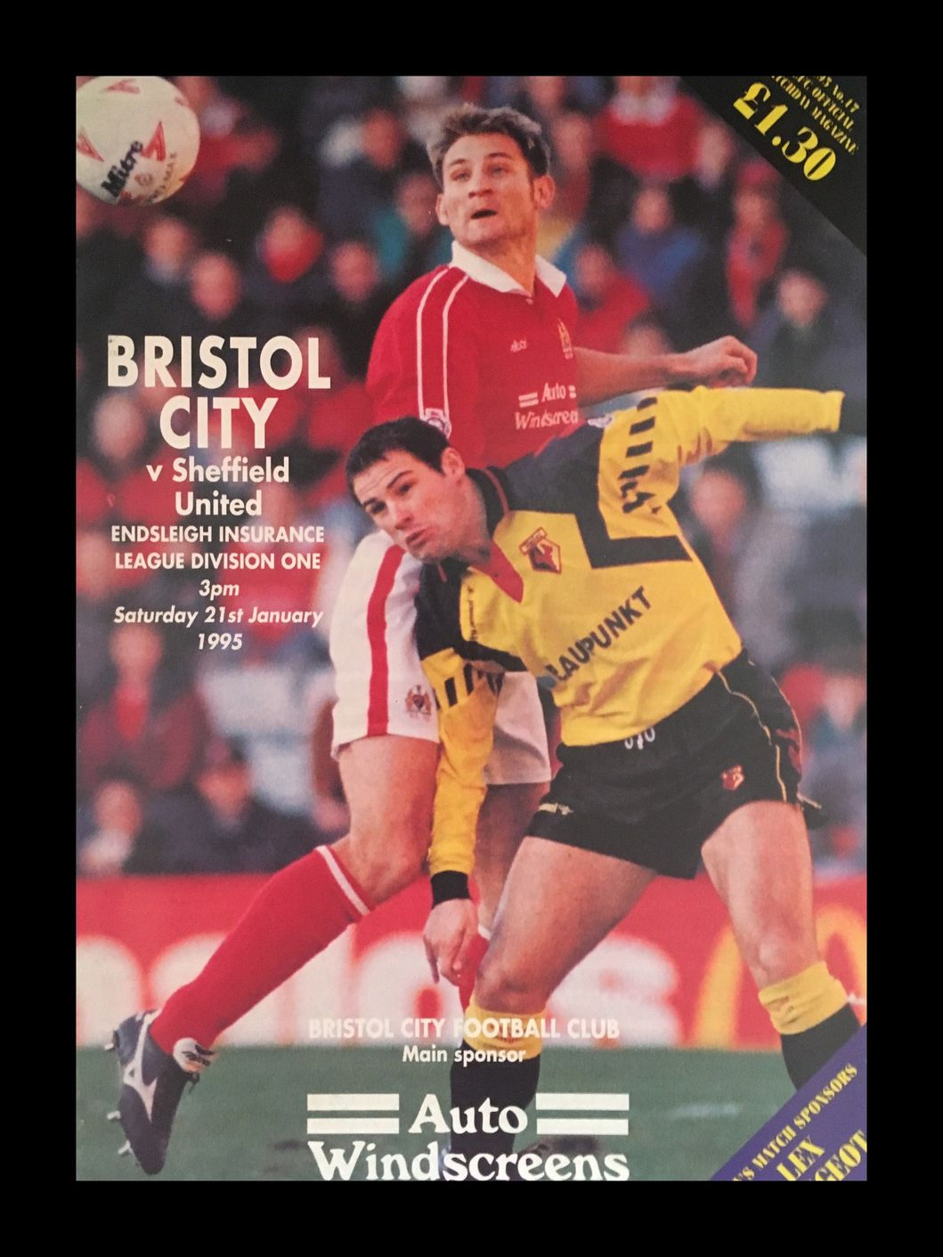 Bristol City v Sheffield United 21-01-1995 Programme