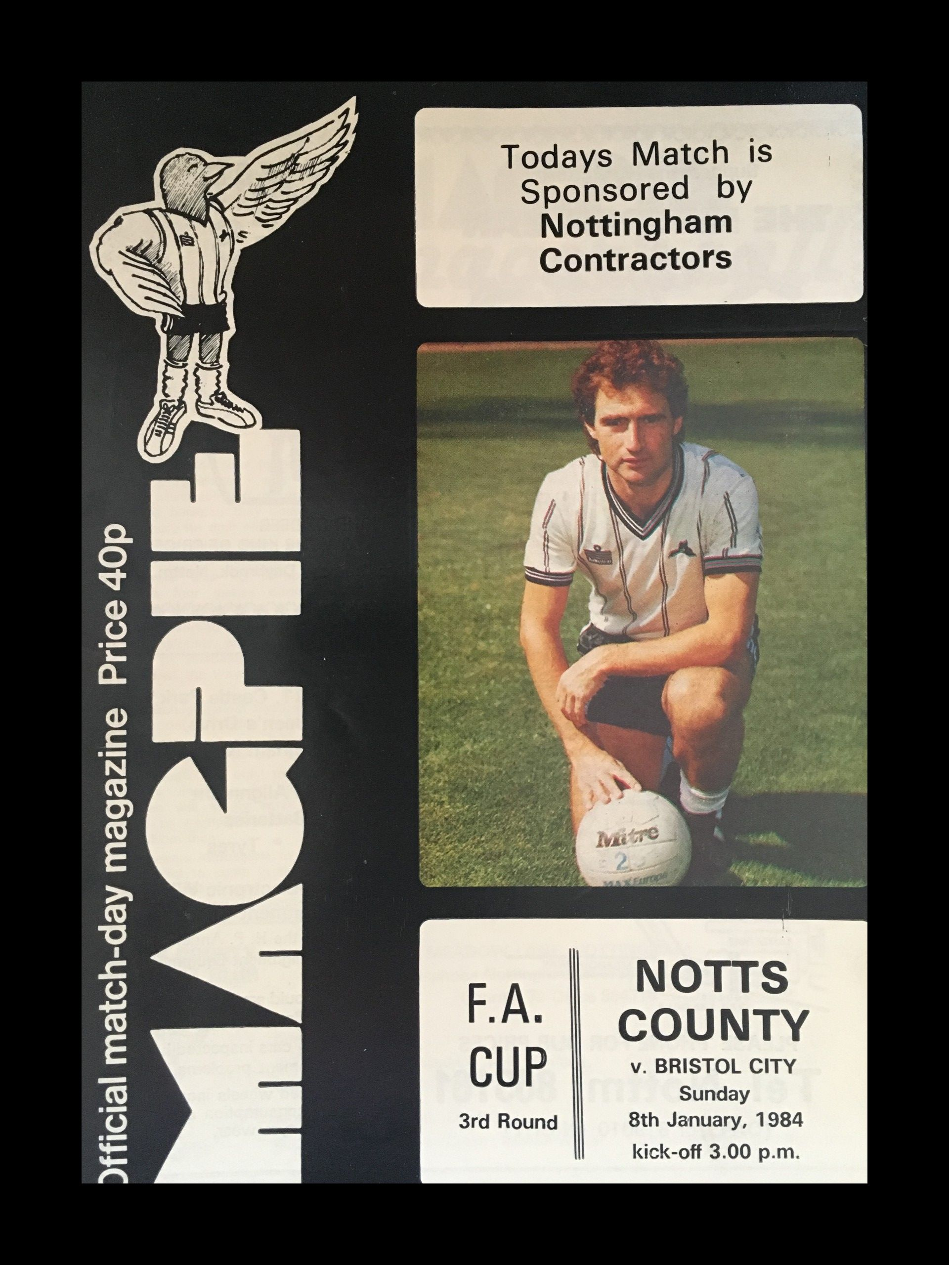 Notts County v Bristol City 08-01-84 Programme