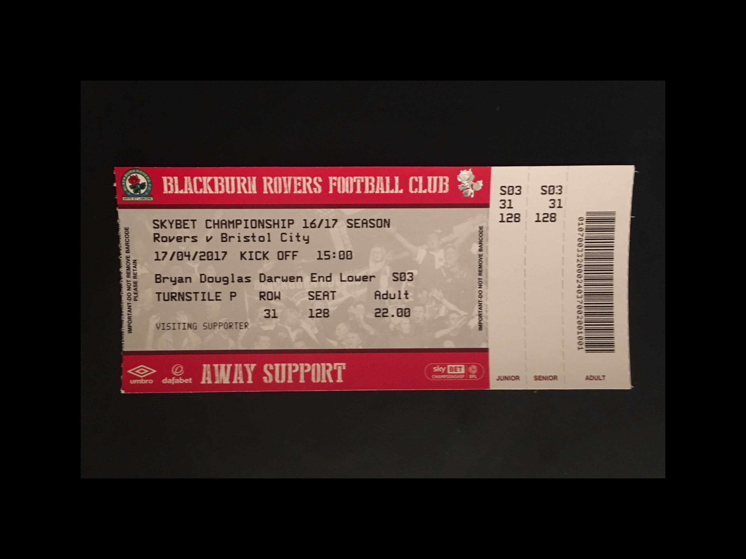 Blackburn Rovers v Bristol City 17-04-17 Ticket