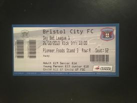 Carlisle United v Bristol City 26-10-2013 Ticket