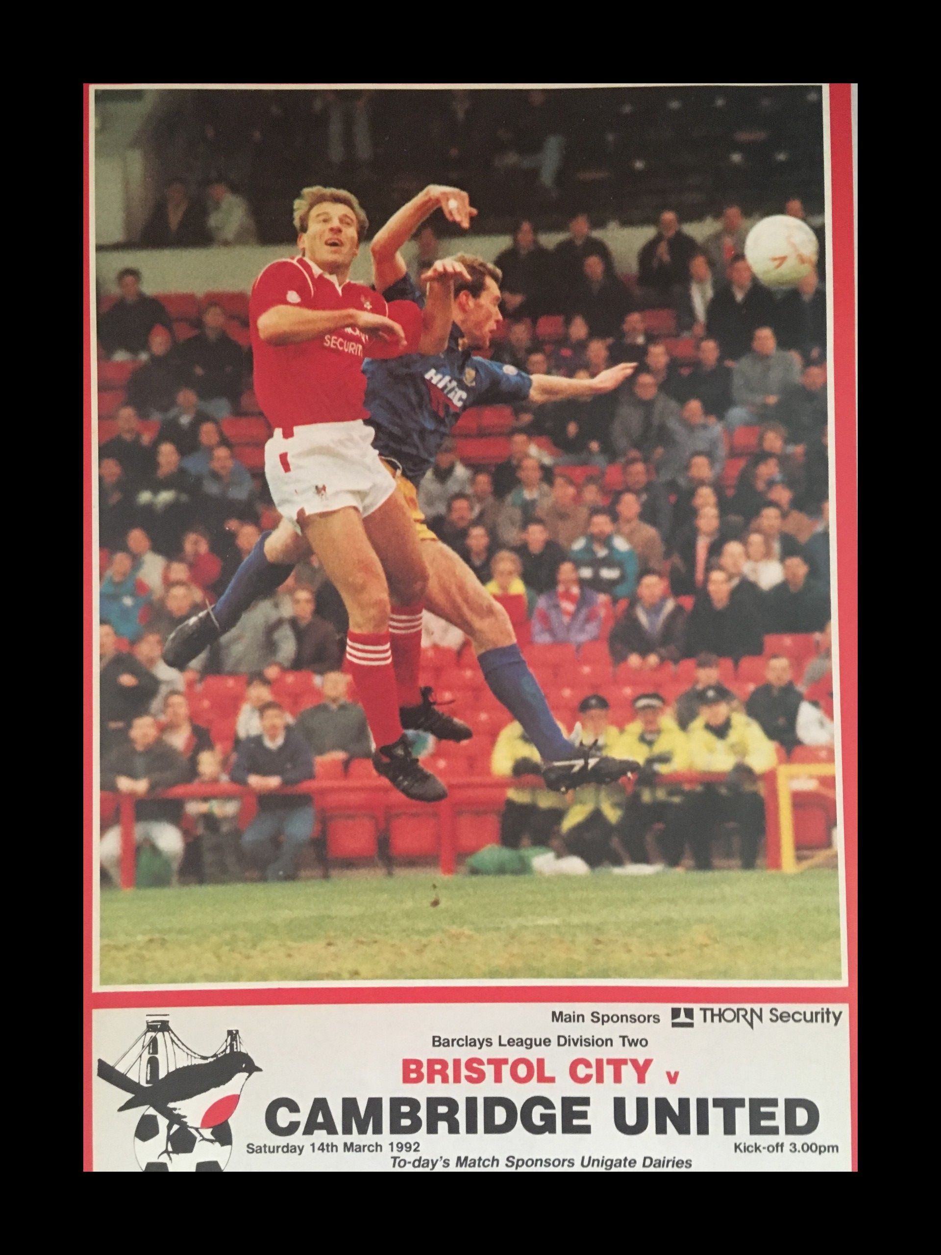 Bristol City v Cambridge United 14-03-1992 Programme