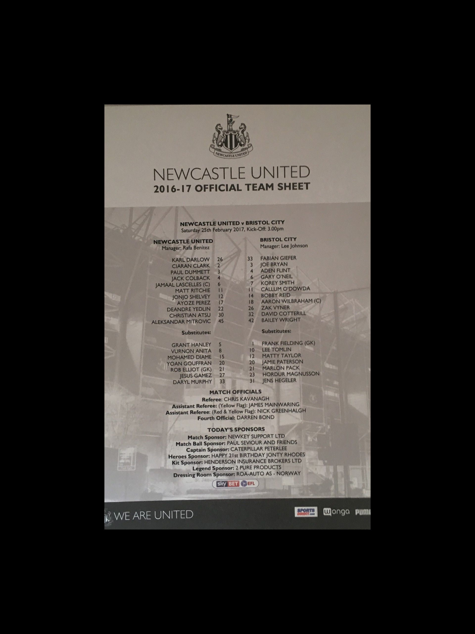 Newcastle United v Bristol City 25-02-17 Team Sheet