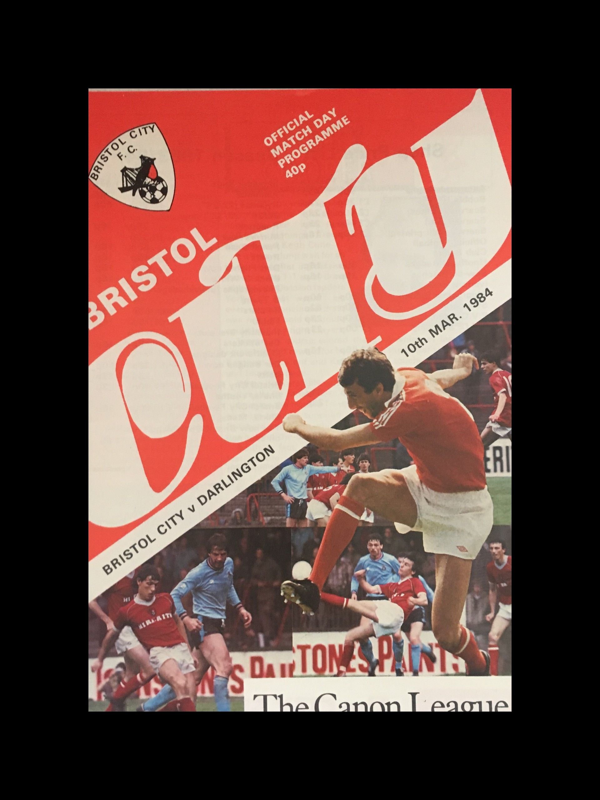 Bristol City v Darlington 10-03-84 Programme