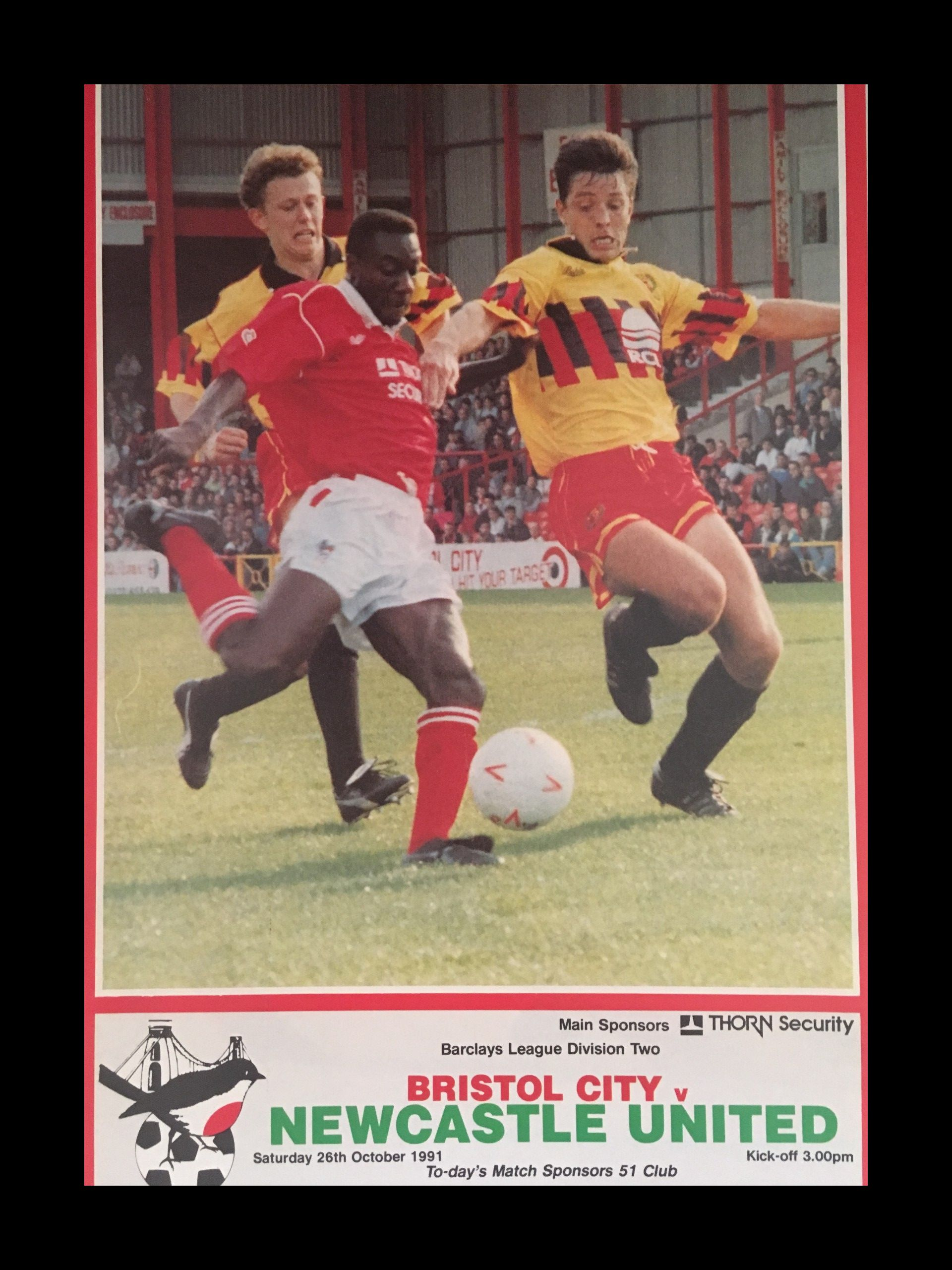 Bristol City v Newcastle United 26-10-1991 Programme