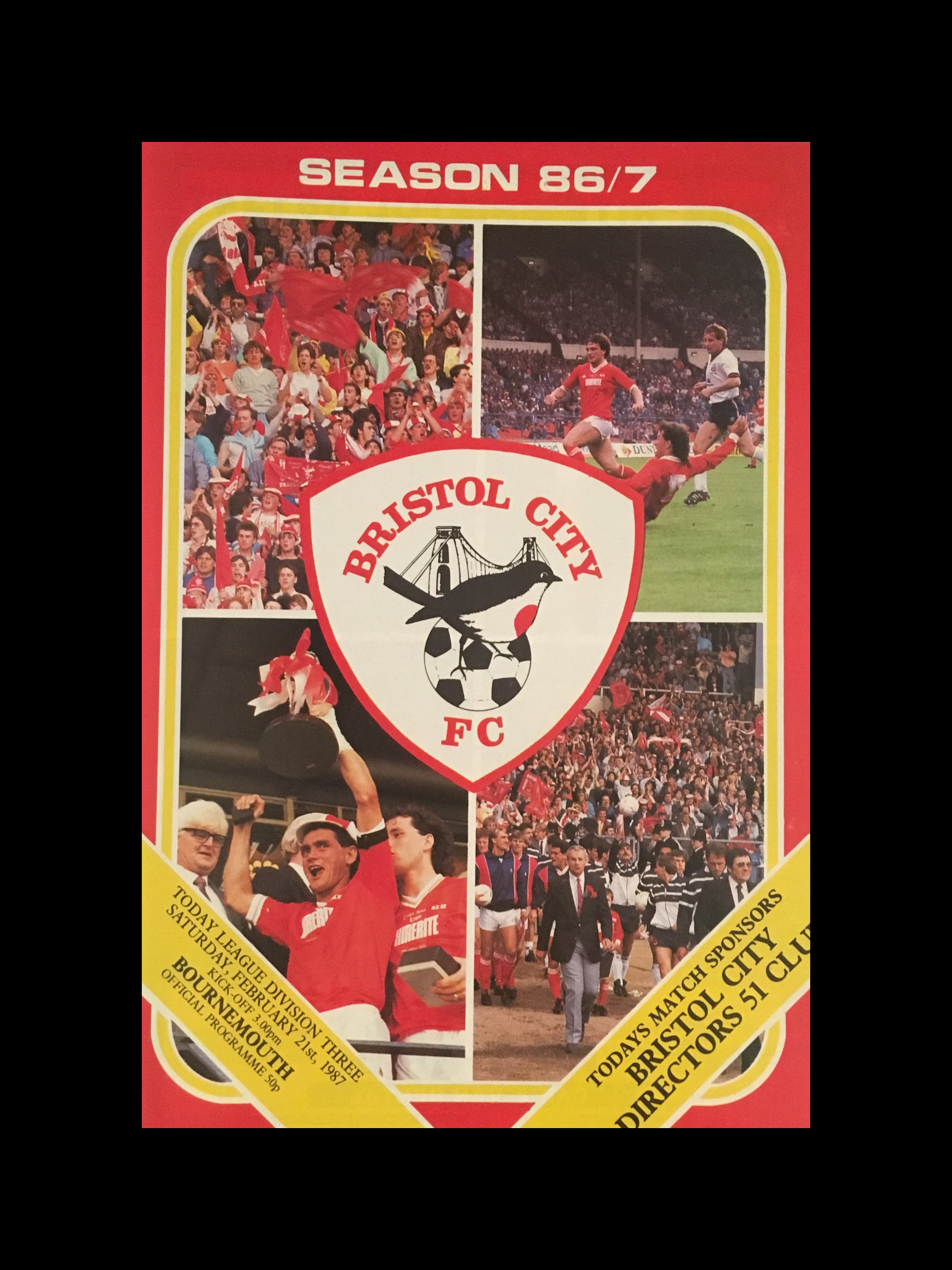 Bristol City v AFC Bournemouth 21-02-87 Programme