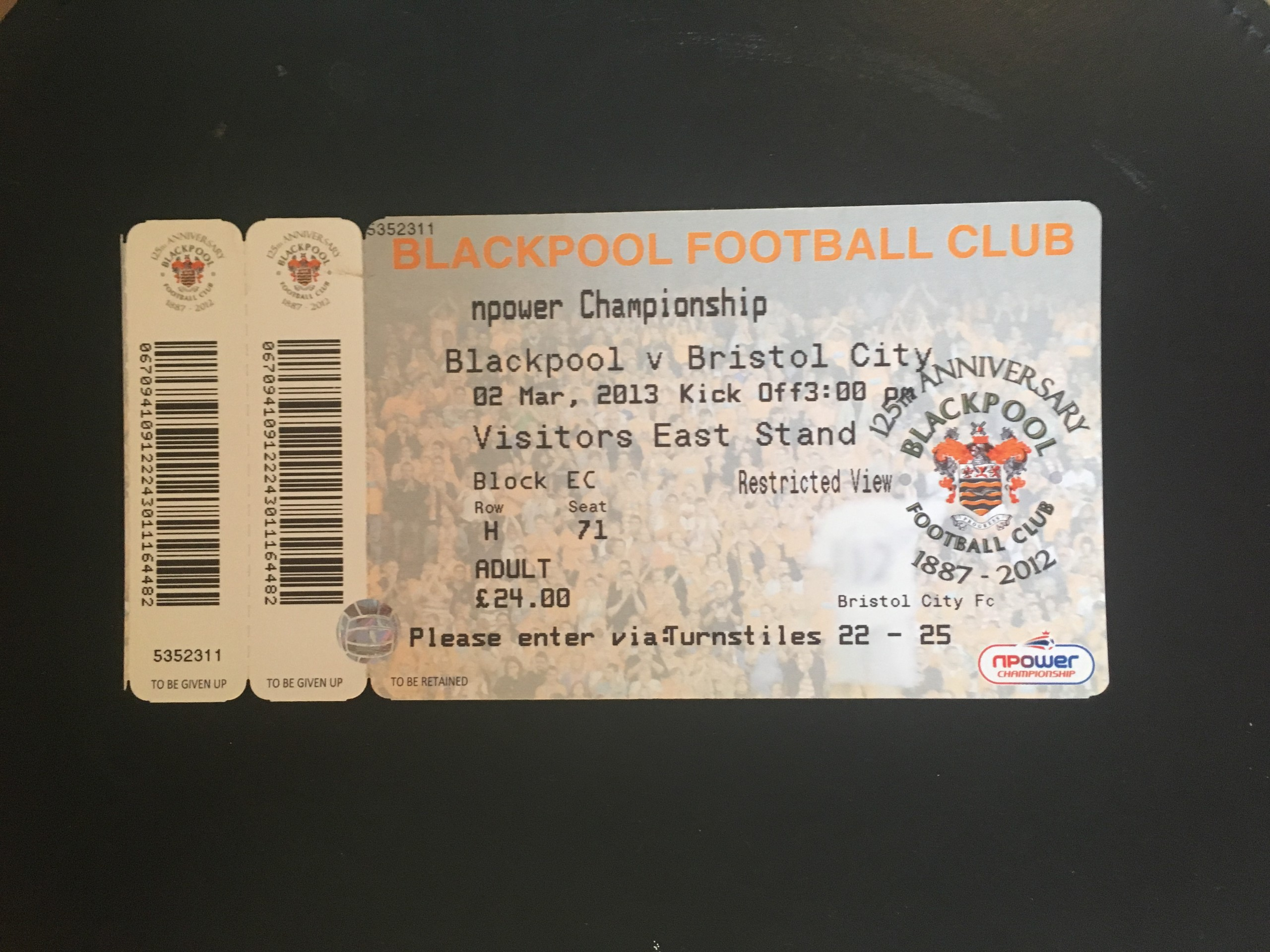 Blackpool v Bristol City 02-03-13 Ticket