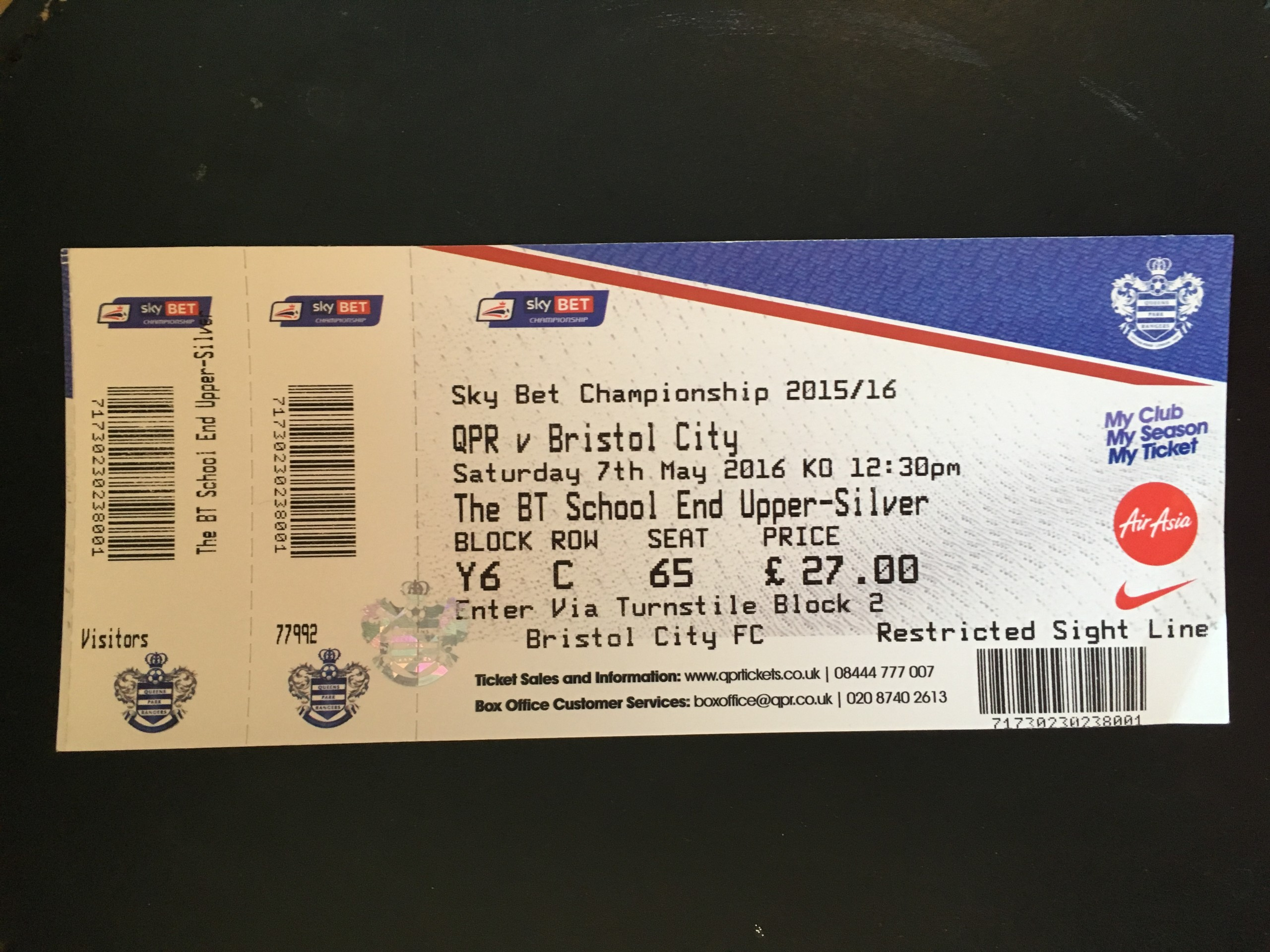 Queens Park Rangers v Bristol City 07-05-2016 Ticket