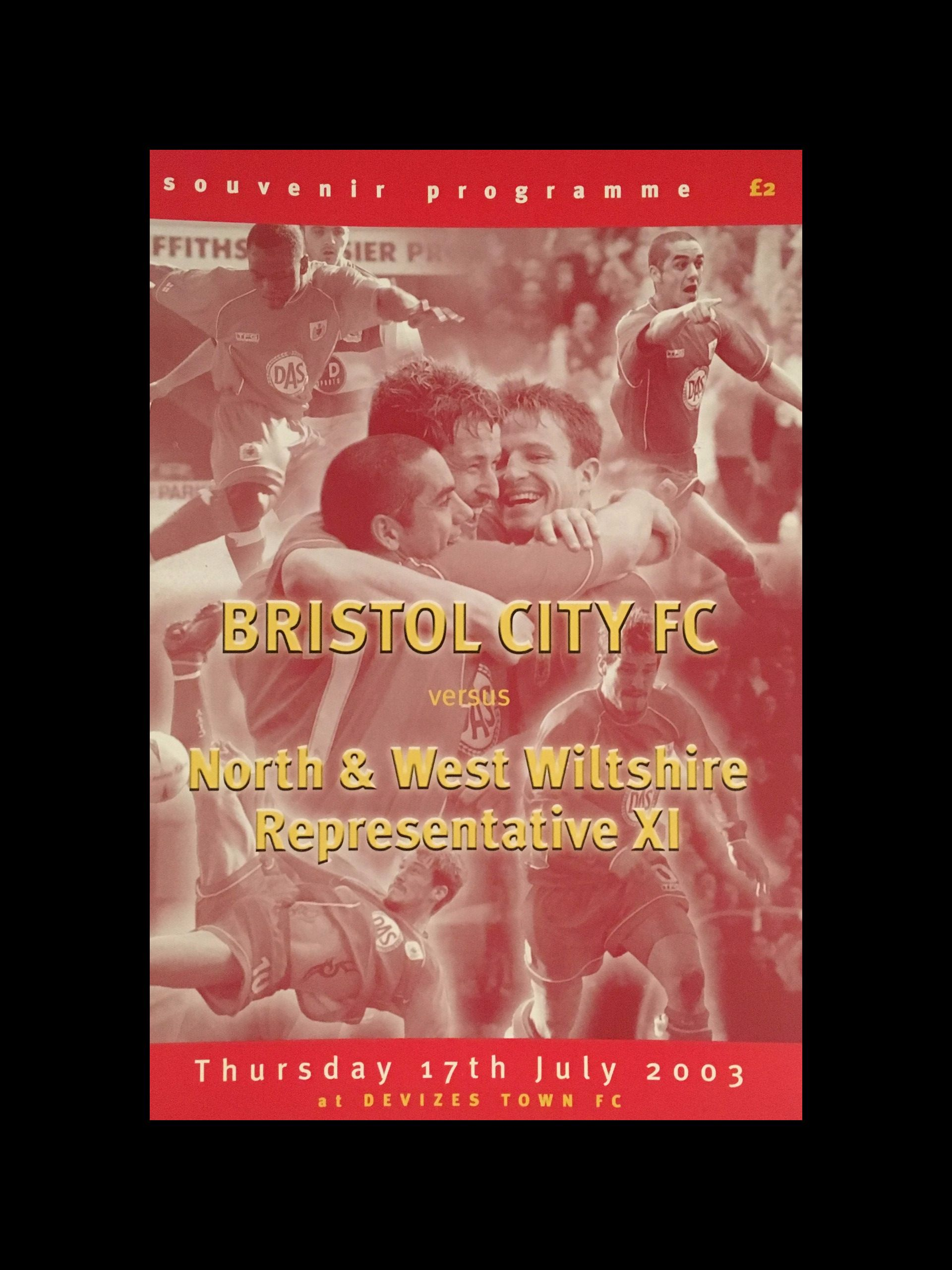 North & West Wiltshire Representative XI v Bristol City 17-07-2003 Programme