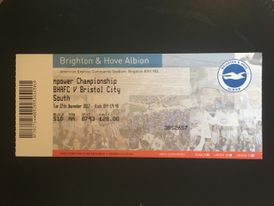 Brighton & Hove Albion v Bristol City 27-11-12 Ticket