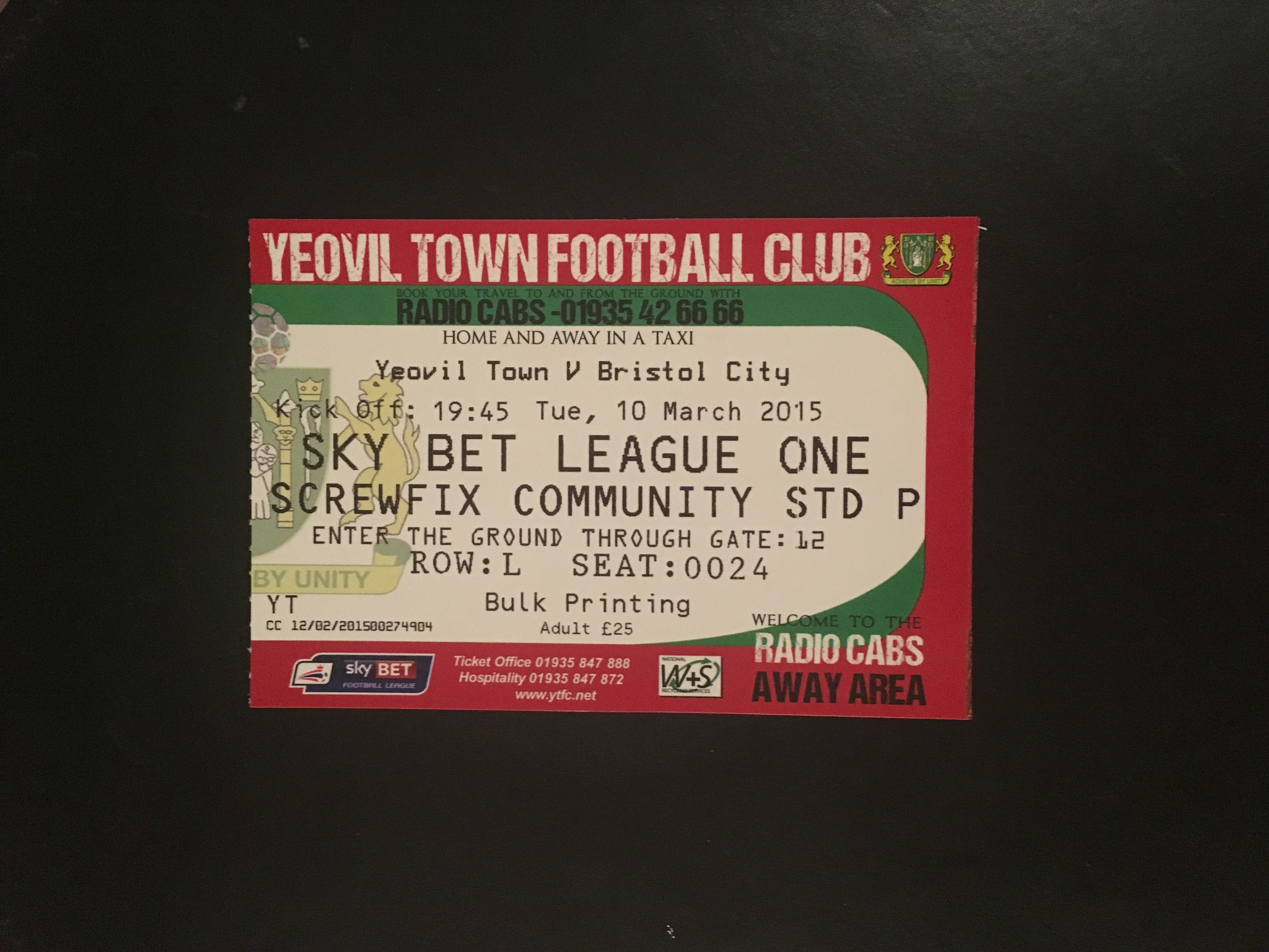Yeovil Town v Bristol City 10-03-2015 Ticket