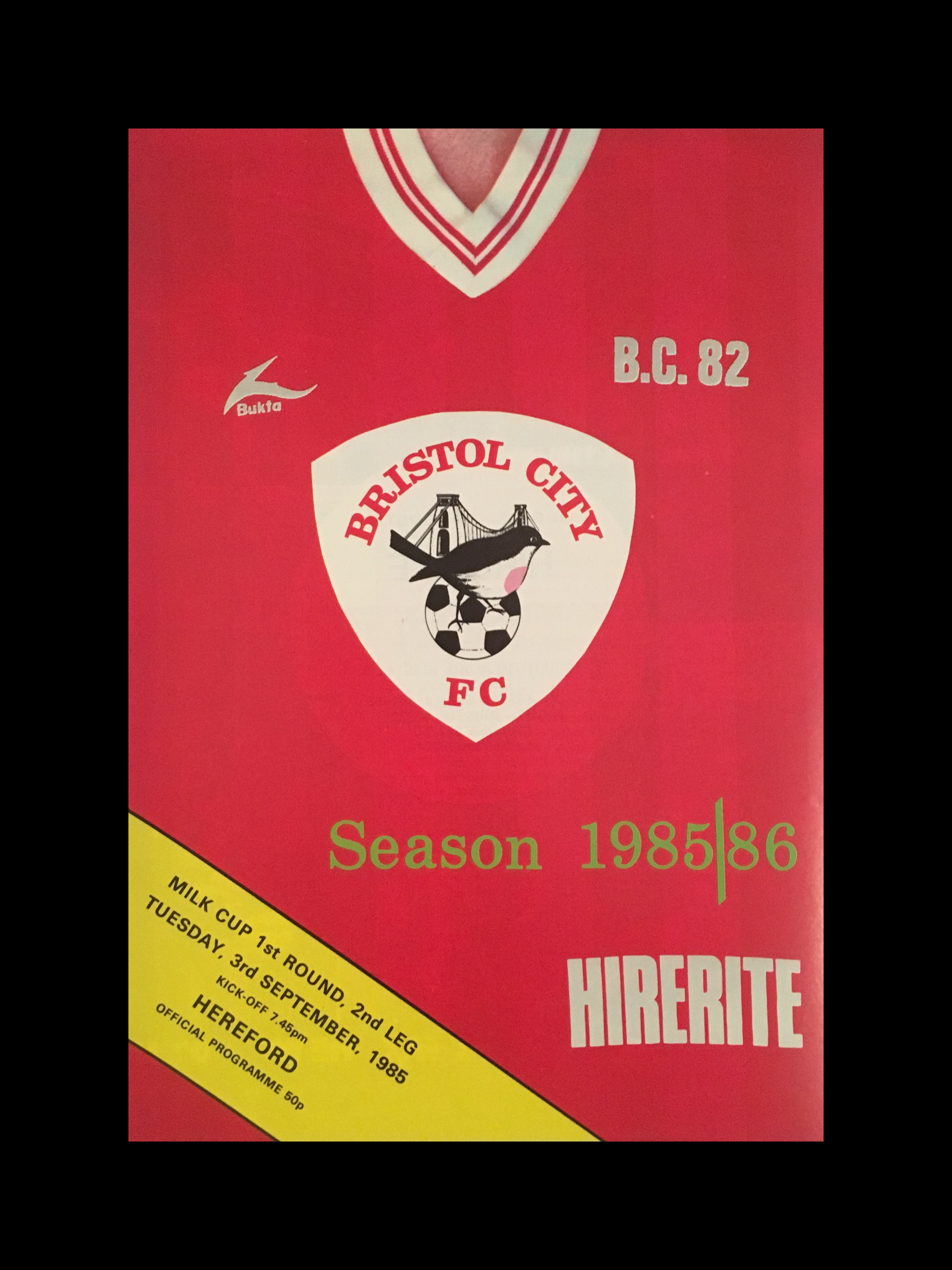 Bristol City v Hereford 03-09-85 Programme