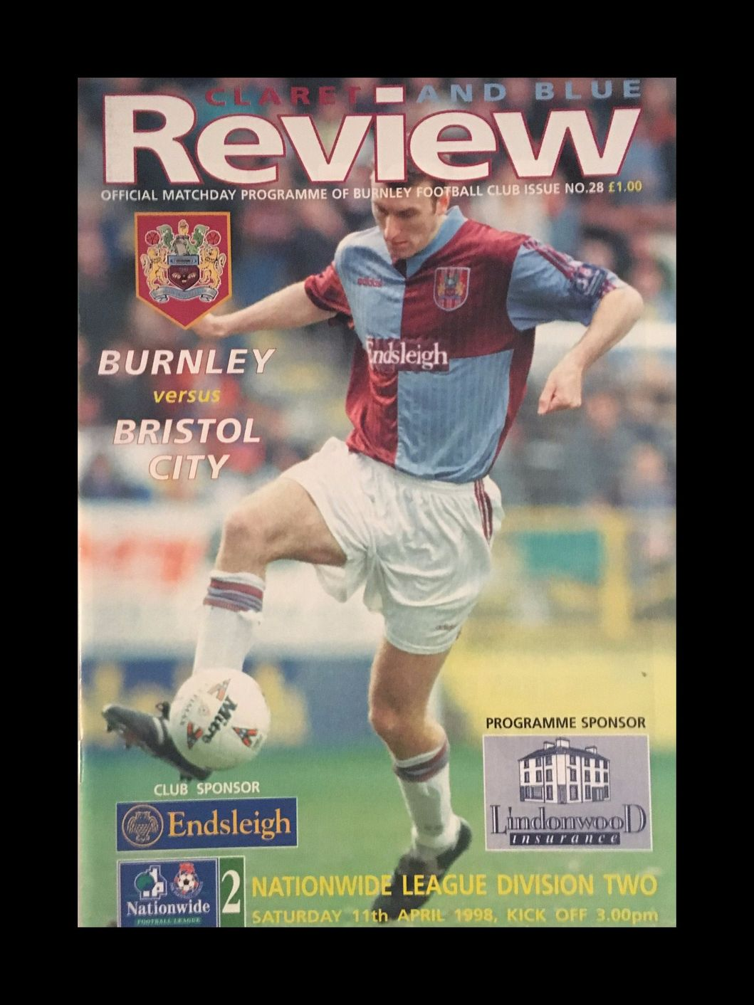 Burnley v Bristol City 11-04-1998 Programme