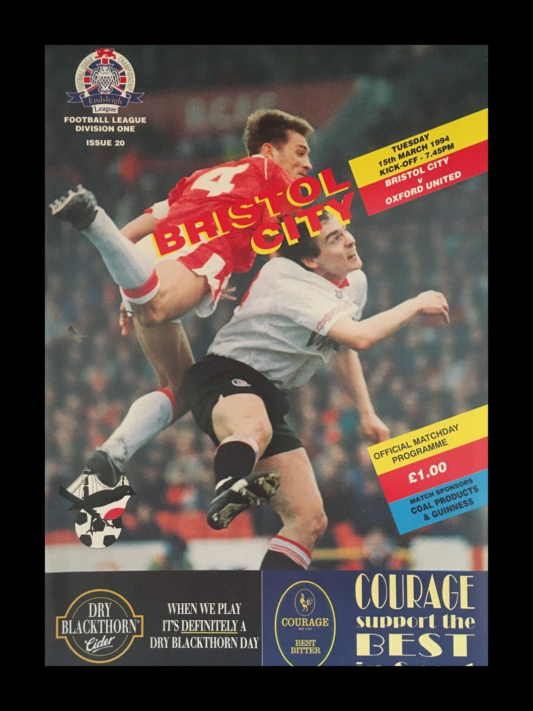 Bristol City v Oxford United 15-03-1994 Programme