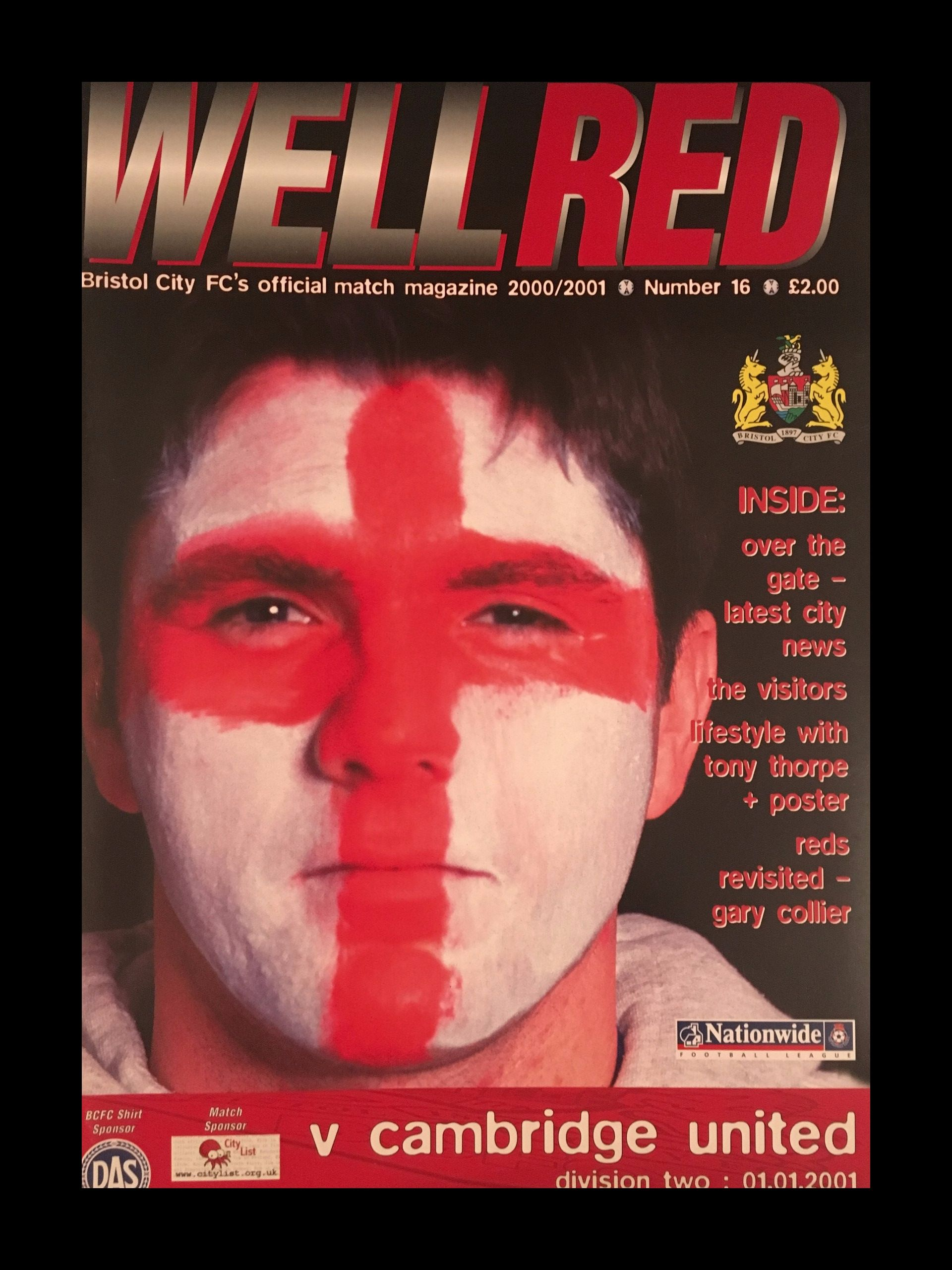 Bristol City v Cambridge United 01-01-2001 Programme
