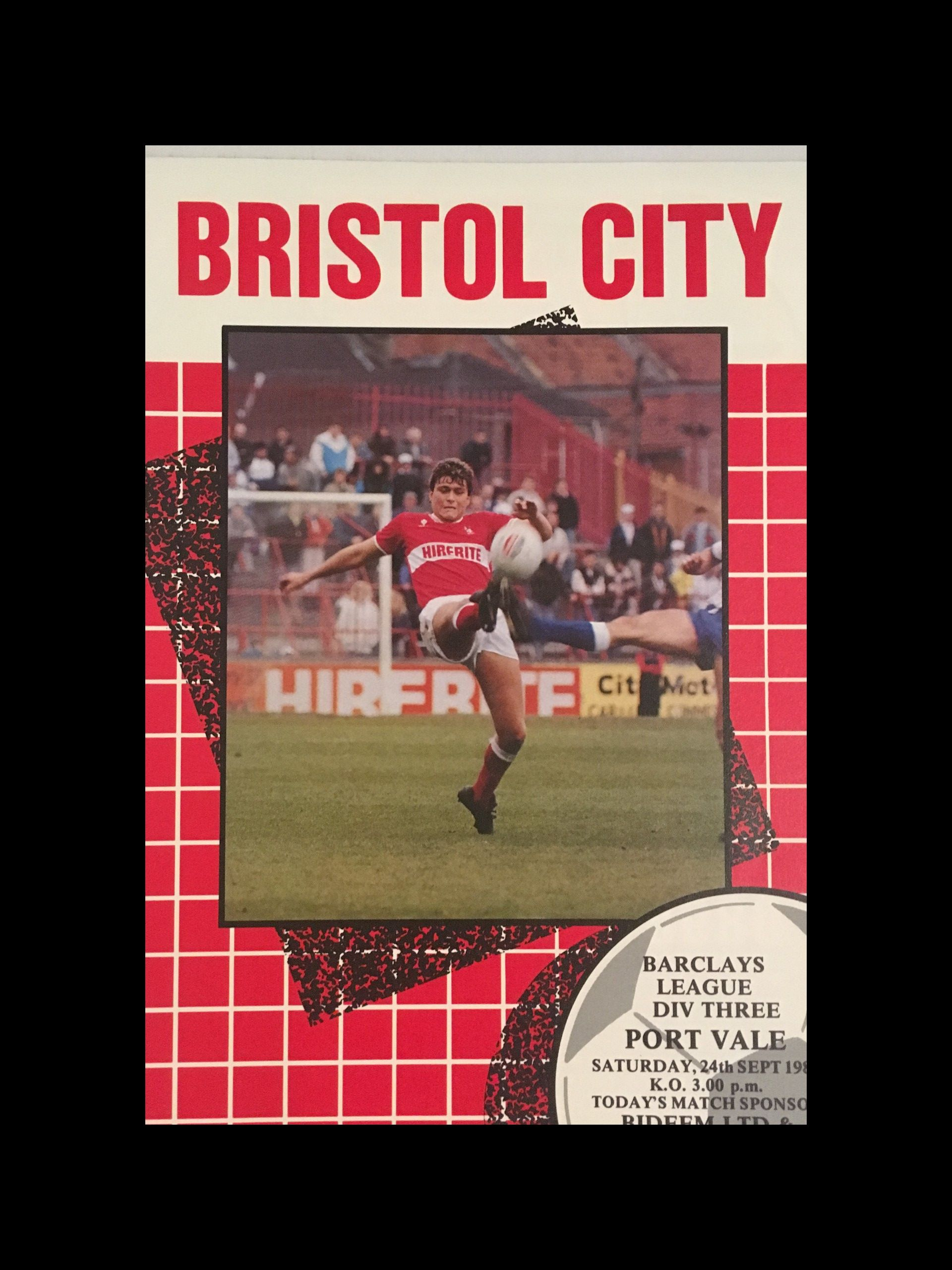 Bristol City v Port Vale 24-09-1988 Programme
