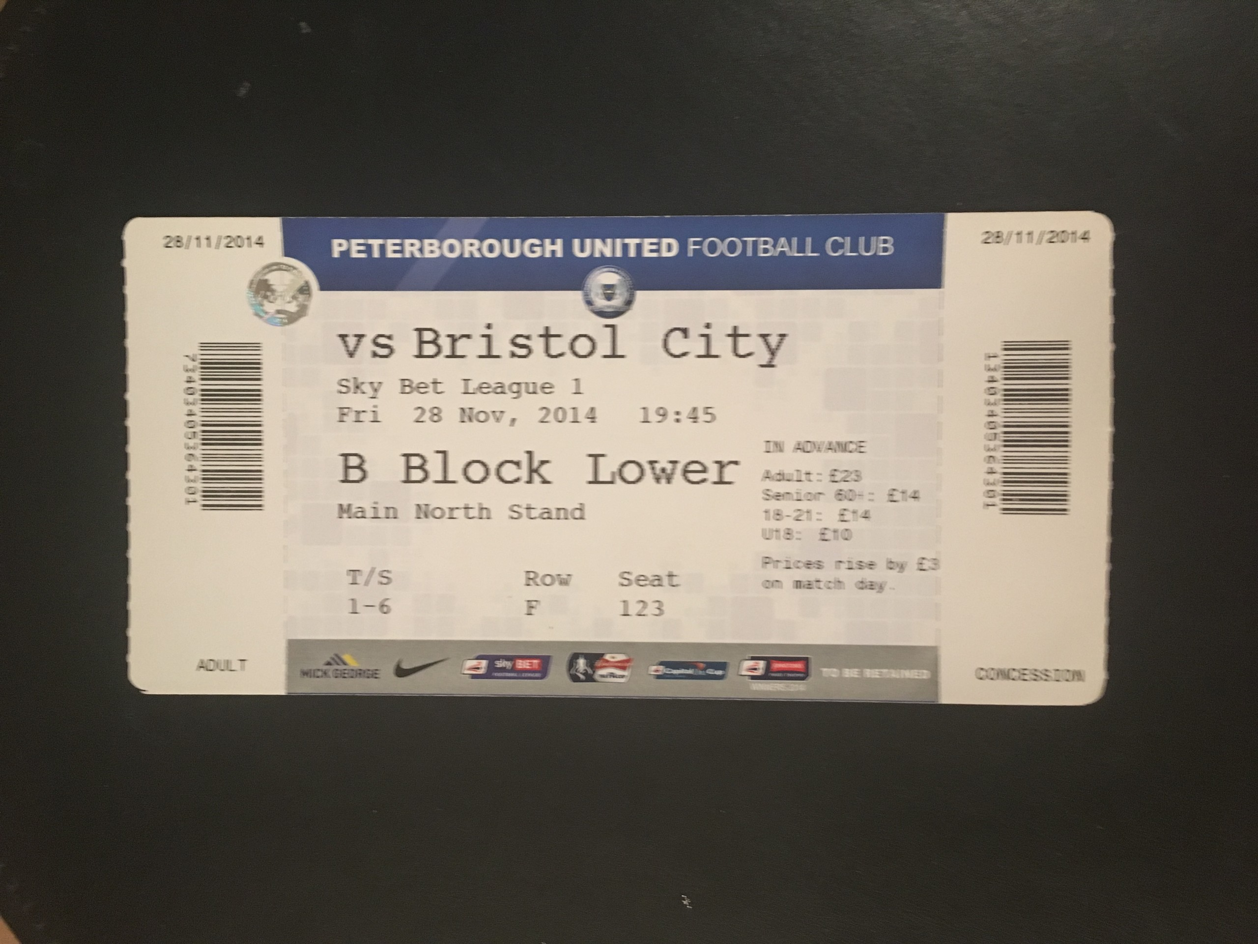 Peterborough United v Bristol City 28-11-2014 Ticket